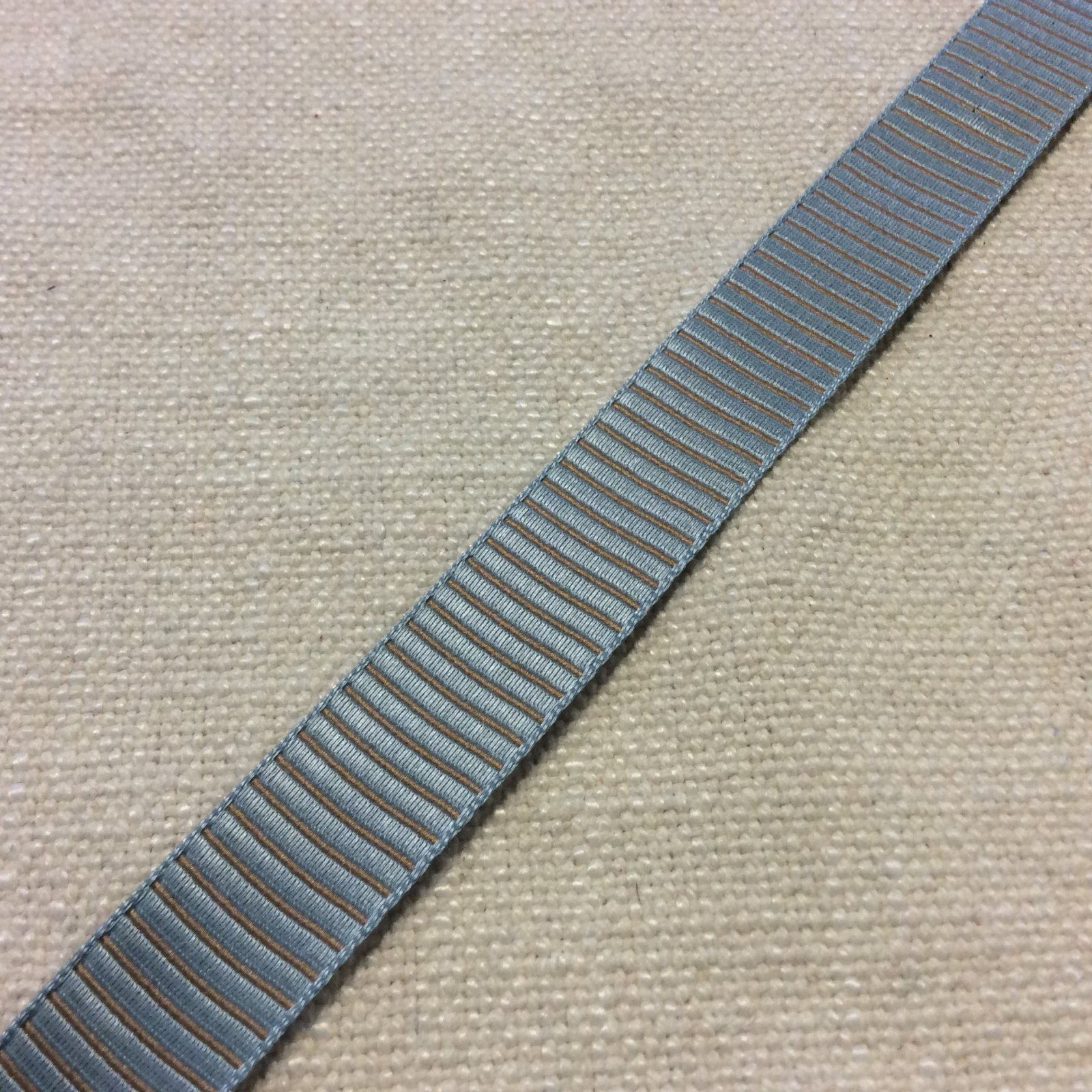 Satin Ribbon 5/8 Made in France Taupe and Ice Blue Ribbed Woven Trim Ribbon RIB1269