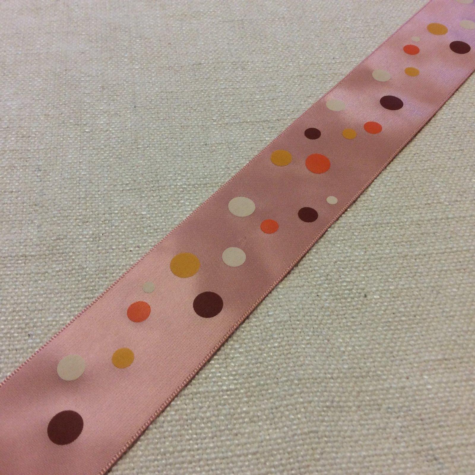 Satin Ribbon 1.5 Pink Polka Dots yellow Orange White Trim Ribbon RIB1270