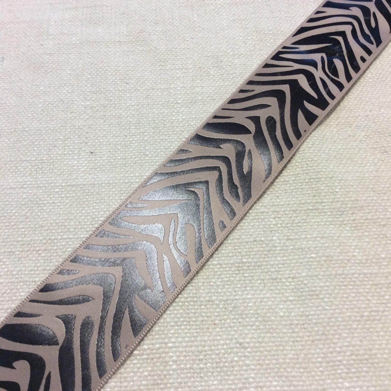 Satin Ribbon 1.5 Taupe and Black Zebra Animal Print Trim Ribbon RIB1273