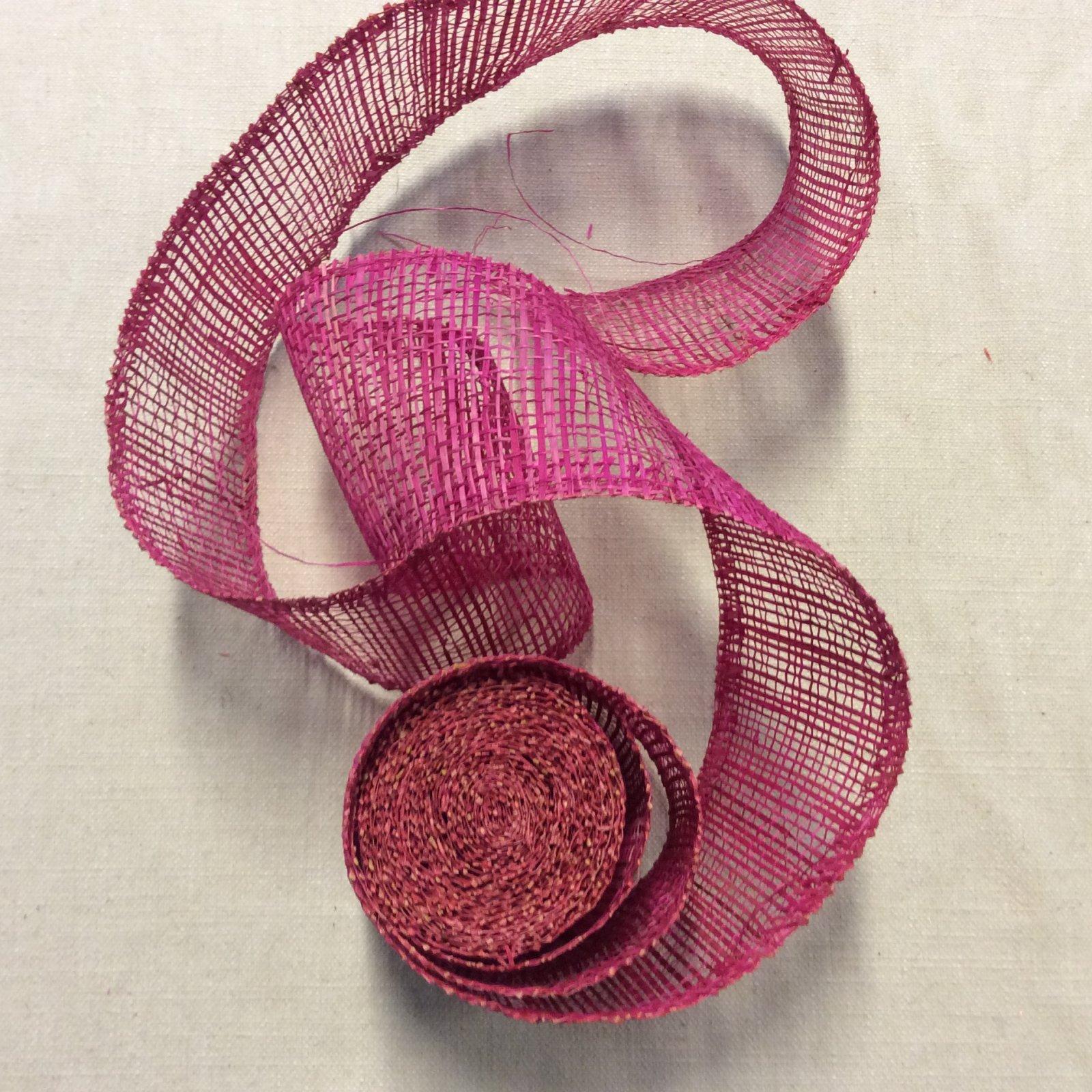 3 Yard Piece! Natural Woven Paper Like Ribbon 4 Pink Trim RIB1293