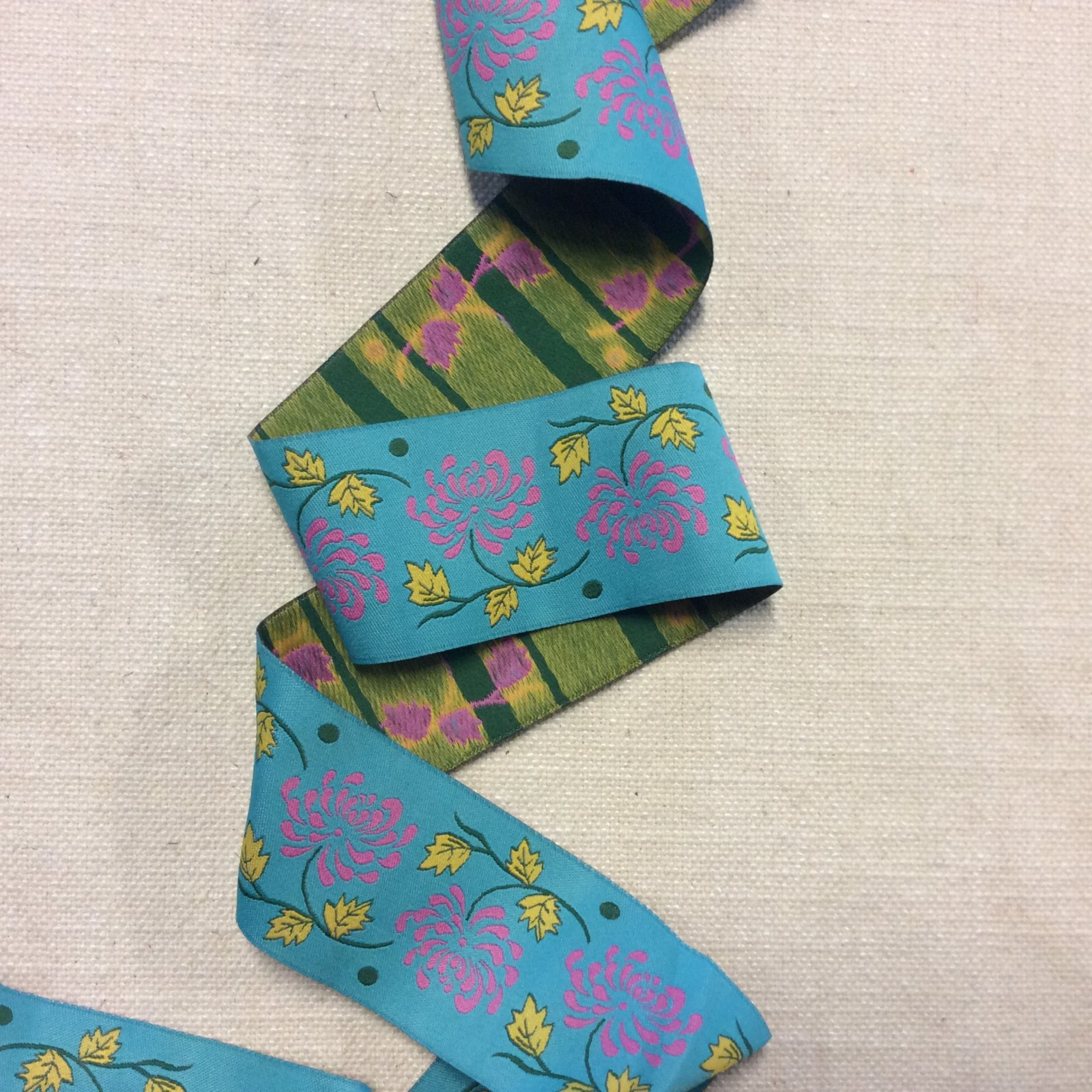 Woven Made in France Jacquard Turquoise Floral Flower Ribbon Trim RIB1311