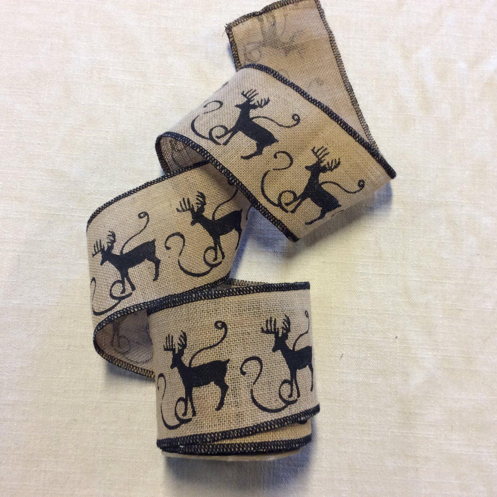 Holiday Burlap Reindeer Christmas Black and Natural Ribbon Decor Trim RIB1368