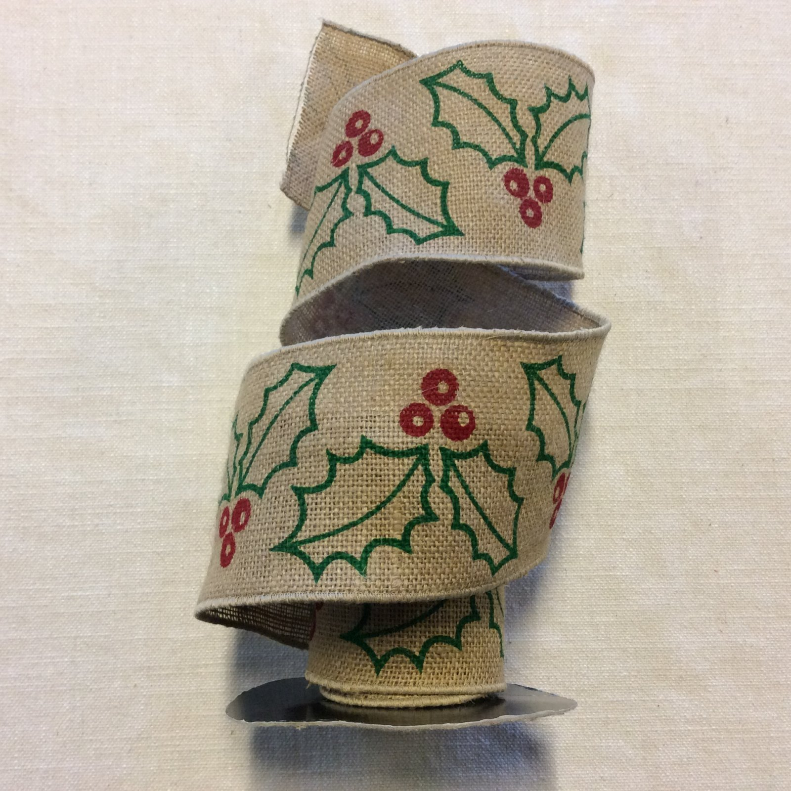 Burlap Printed Holly Berries and Leaves Christmas Wired Ribbon Decor Trim RIB1371