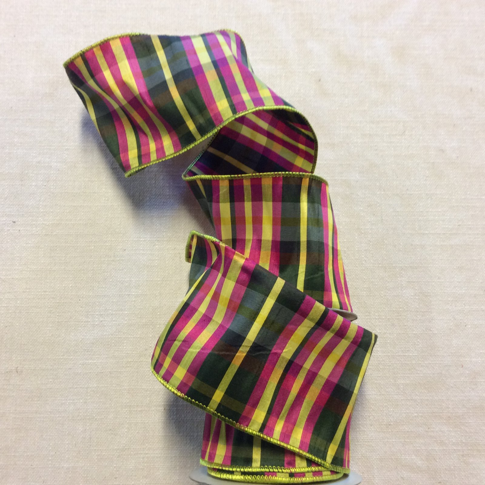 Faux Silk Taffeta Green Pink and Yellow Plaid Striped Madras Like Spring Wired Ribbon Decor Trim RIB1379