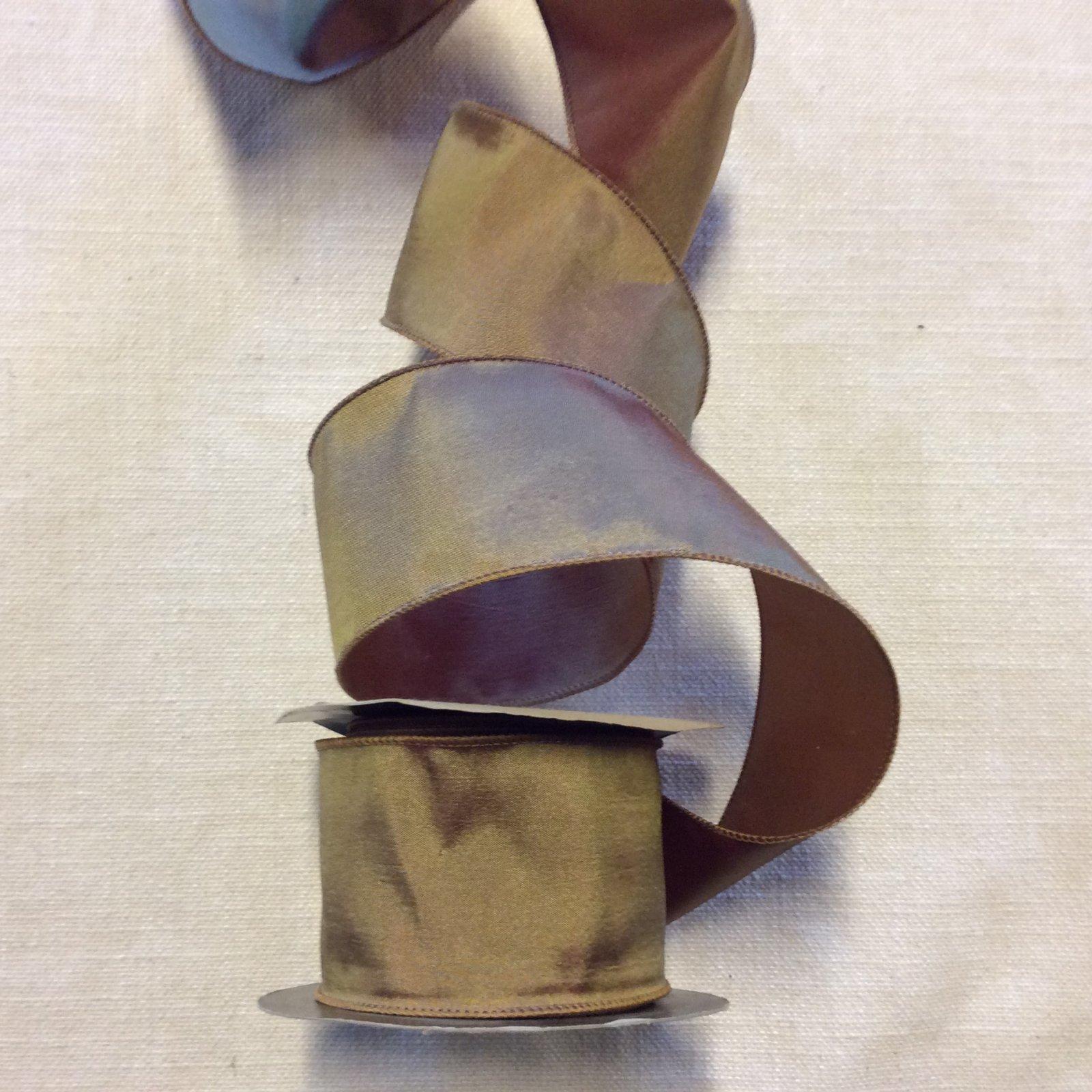 Iridescent Faux Silk Satin Golden Red Tone Wired 2.5 Ribbon Decor Trim RIB1388