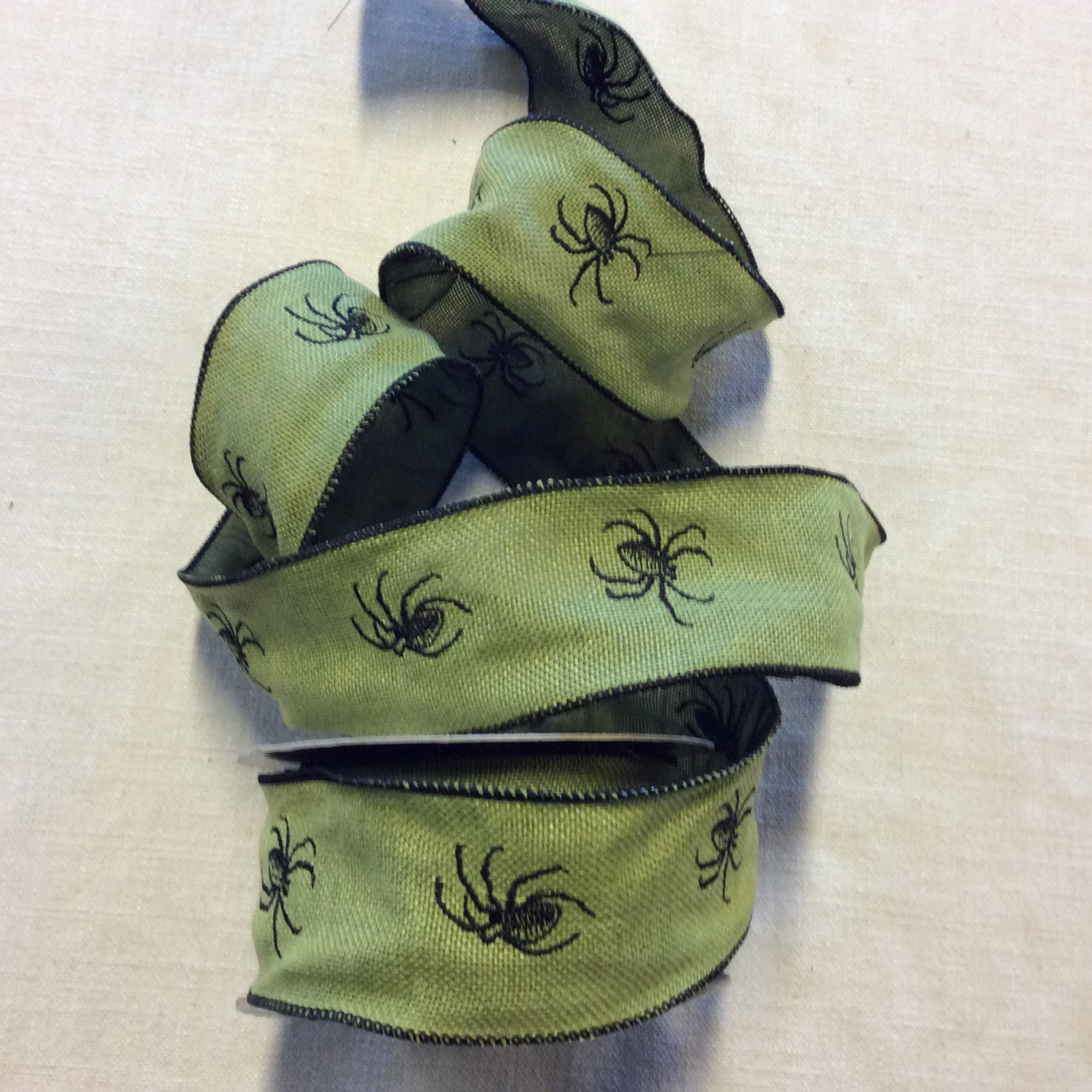 Faux Burlap Embroidered Spider Green and Black Halloween Wired 2.5 Ribbon Decor Trim RIB1392