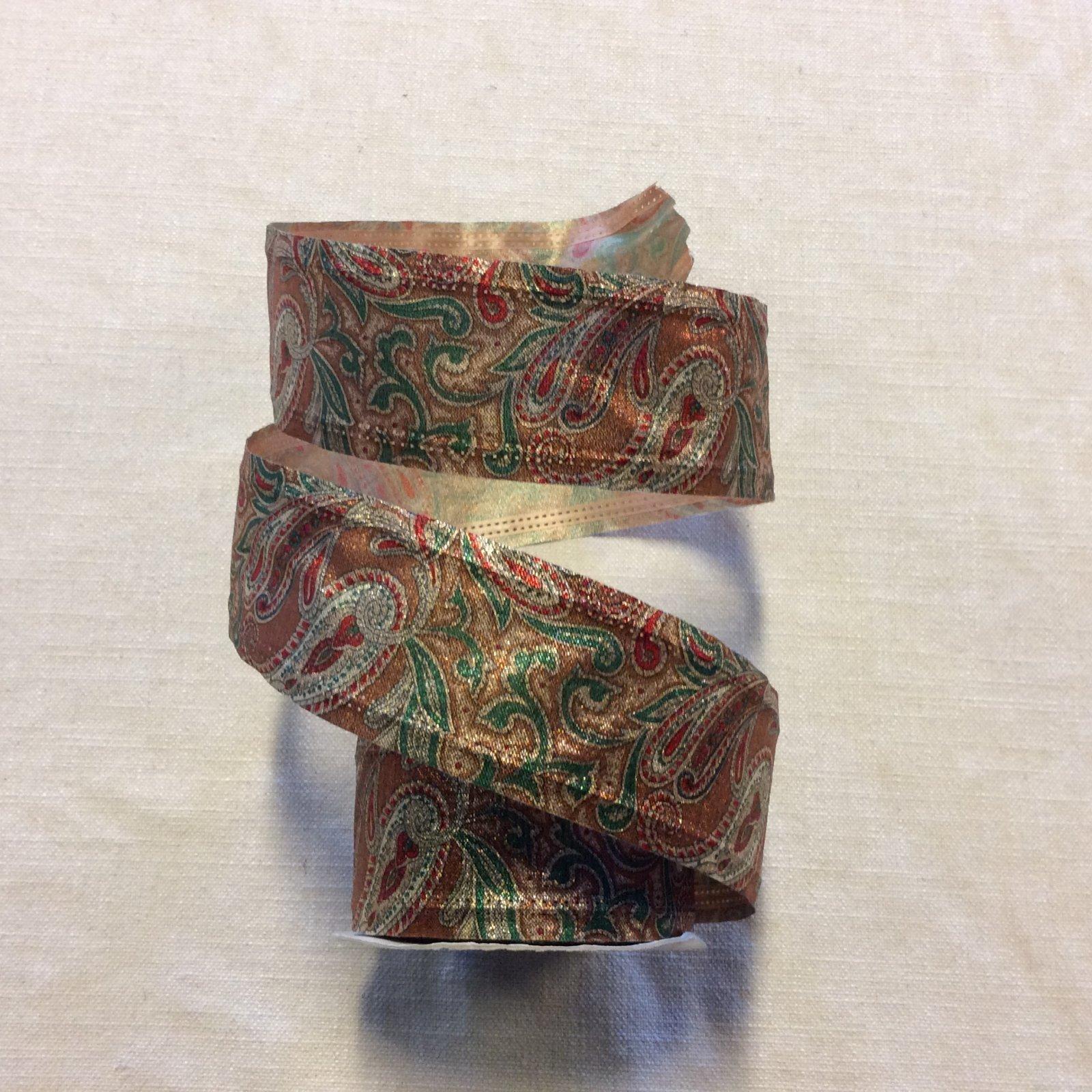 Fun Holiday Metallic Paisley Paper Like Wired 2.5 Ribbon Decor Trim RIB1400