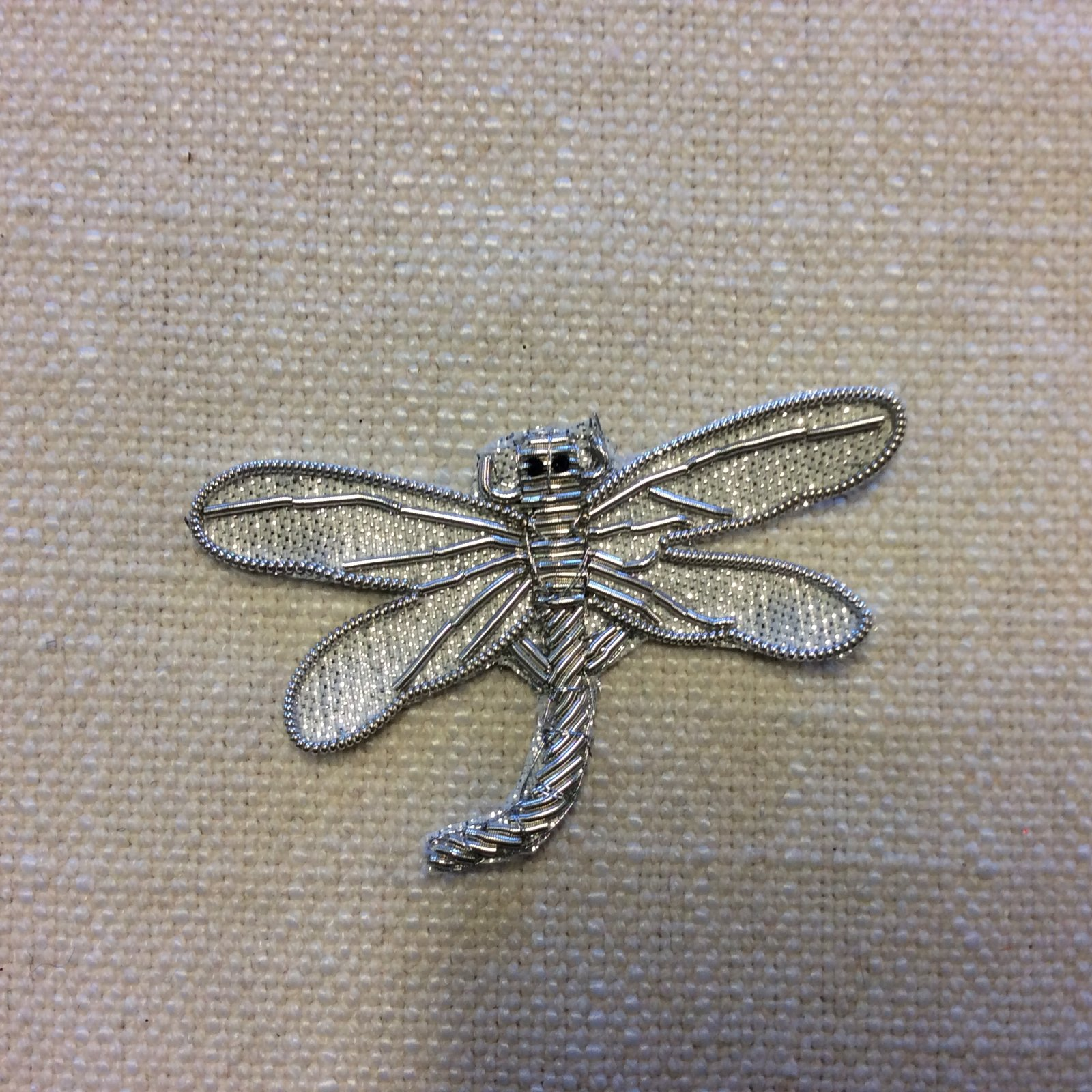 Luxury Silver Dragonfly Coiled Metallic Thread Glamour Sew-On Applique AP008