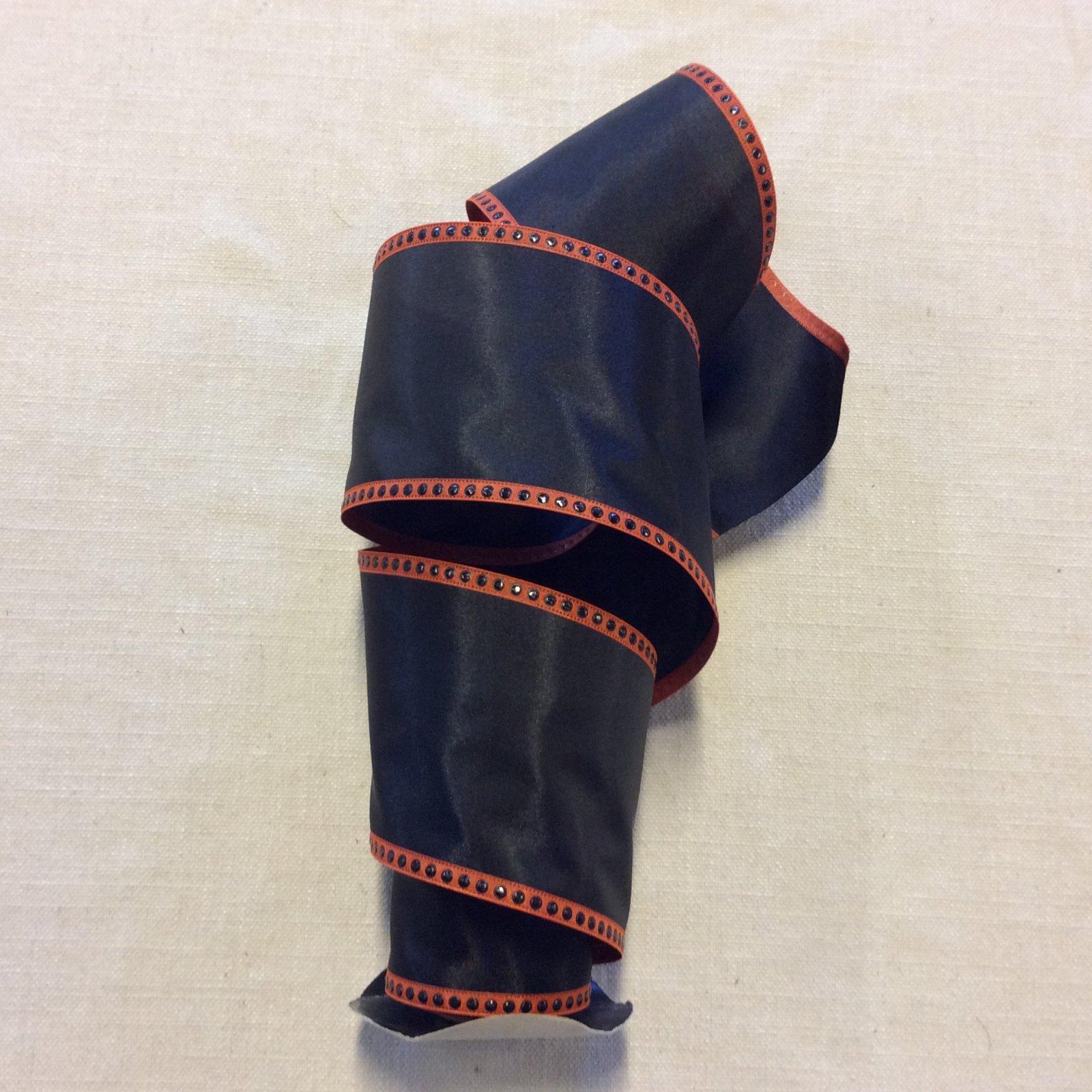 Black and Orange Faux Silk Halloween Modern Decorative 4 Wired Ribbon Decor Trim RIB1425