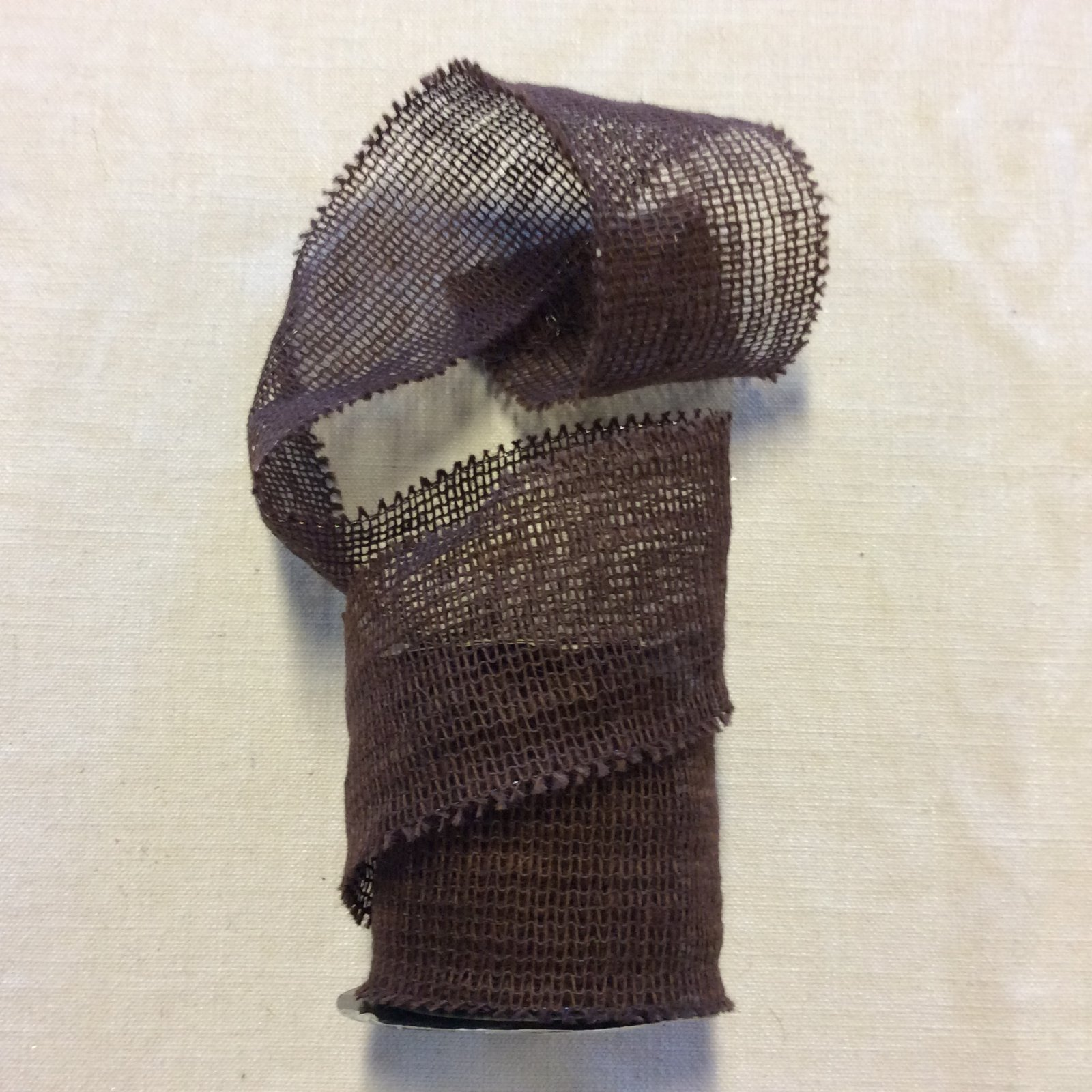 Brown Burlap Look Open Weave Decorative 4 Wired Ribbon Decor Trim RIB1426
