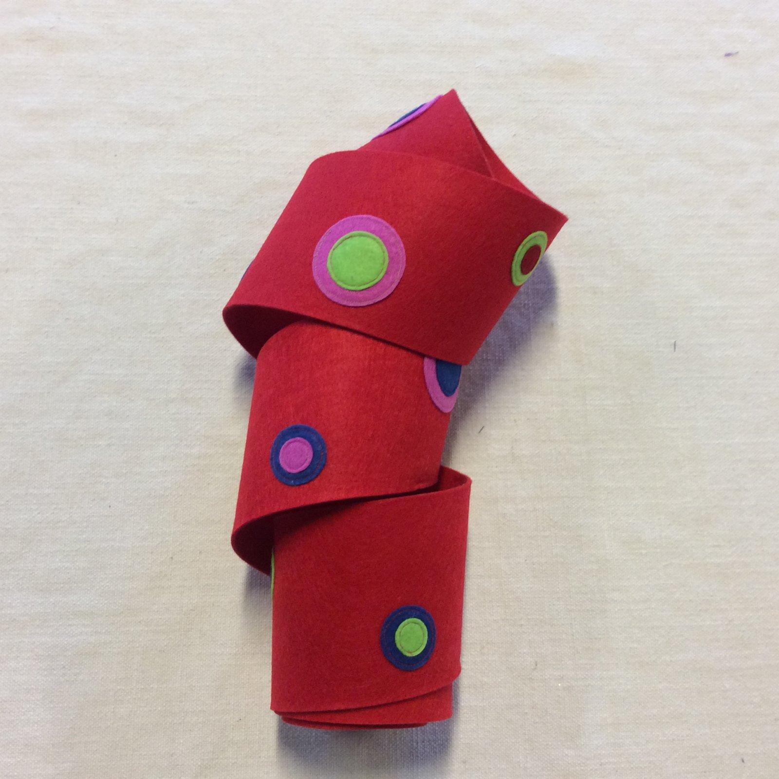 Holiday Fun Poly Felt Polka Dot Red Green Pink and Blue Ribbon Trim RIB1453