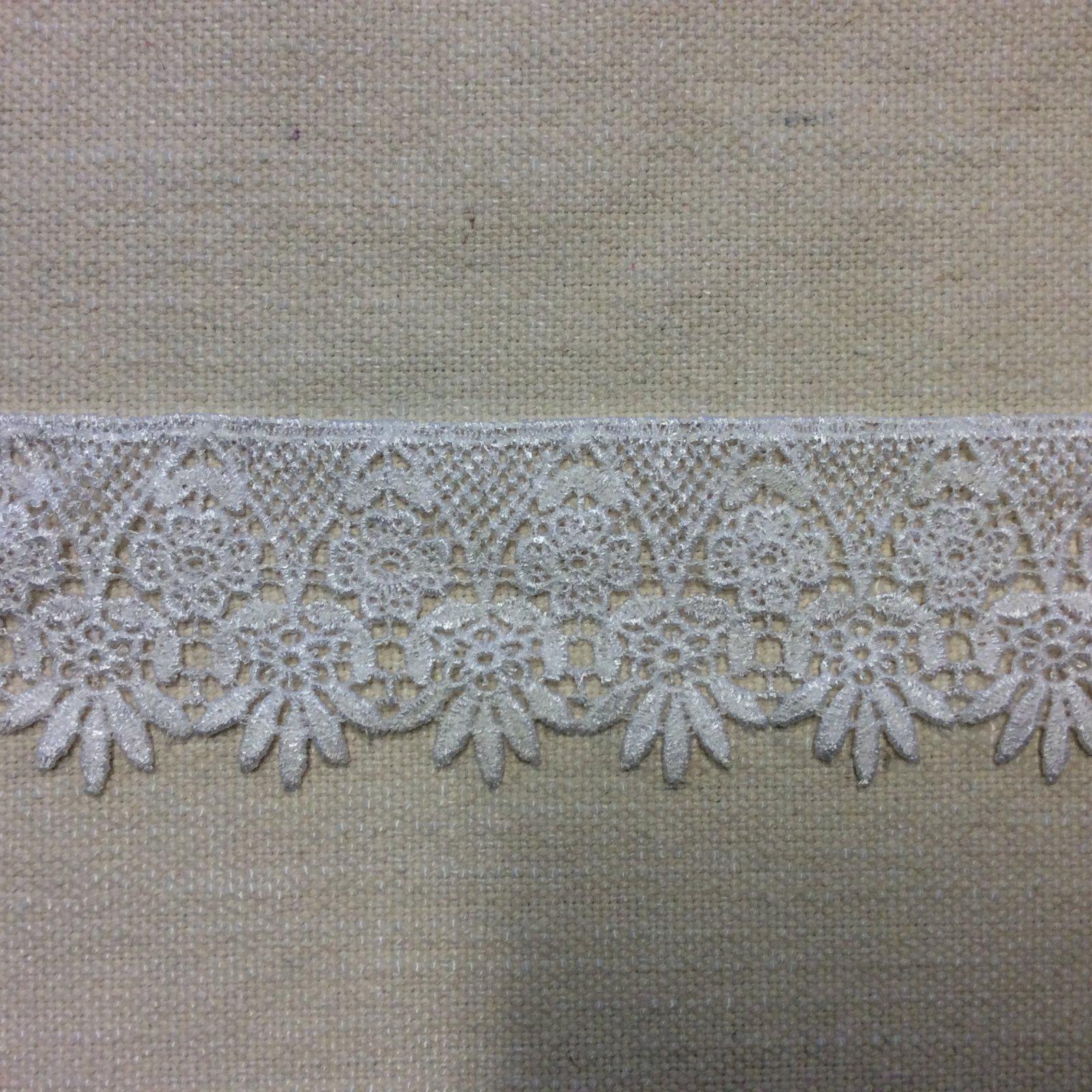 2 White Cotton Blend Bridal Decorative Costume Lace Ribbon Apparel Trim RIB1458