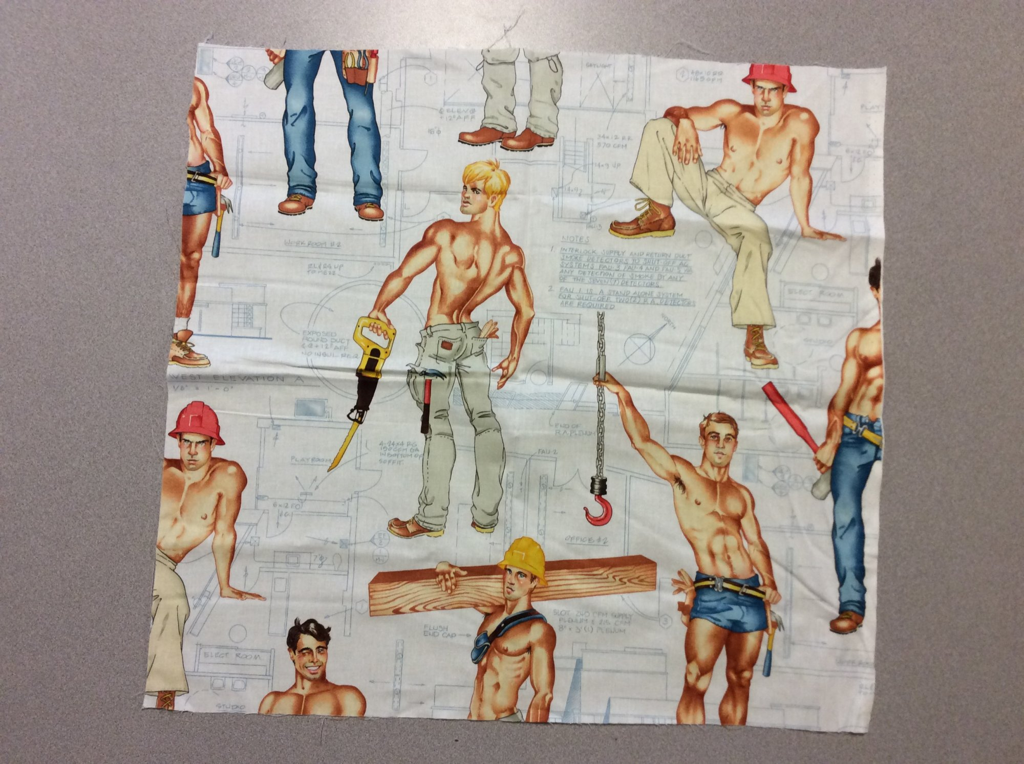 Fat Quarter! Rare! Out Of Print! Alexander Henry Heavy Equipment Sexy Pin Up Guys Construction Workers Cotton Fabric Quilt Fabric FQAH100B