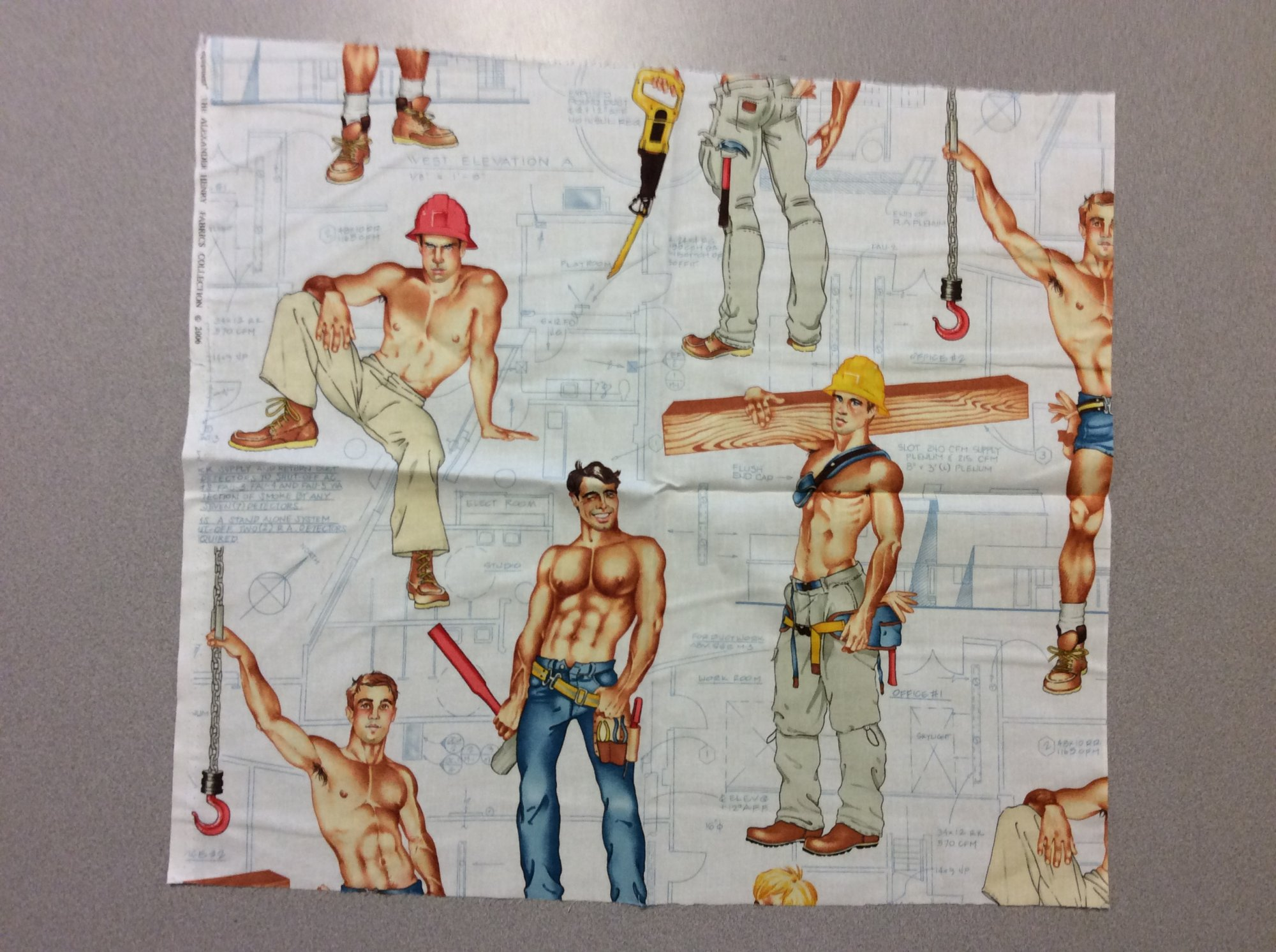 Fat Quarter! Rare! Out Of Print! Alexander Henry Heavy Equipment Sexy Pin Up Guys Construction Workers Cotton Fabric Quilt Fabric FQAH100D