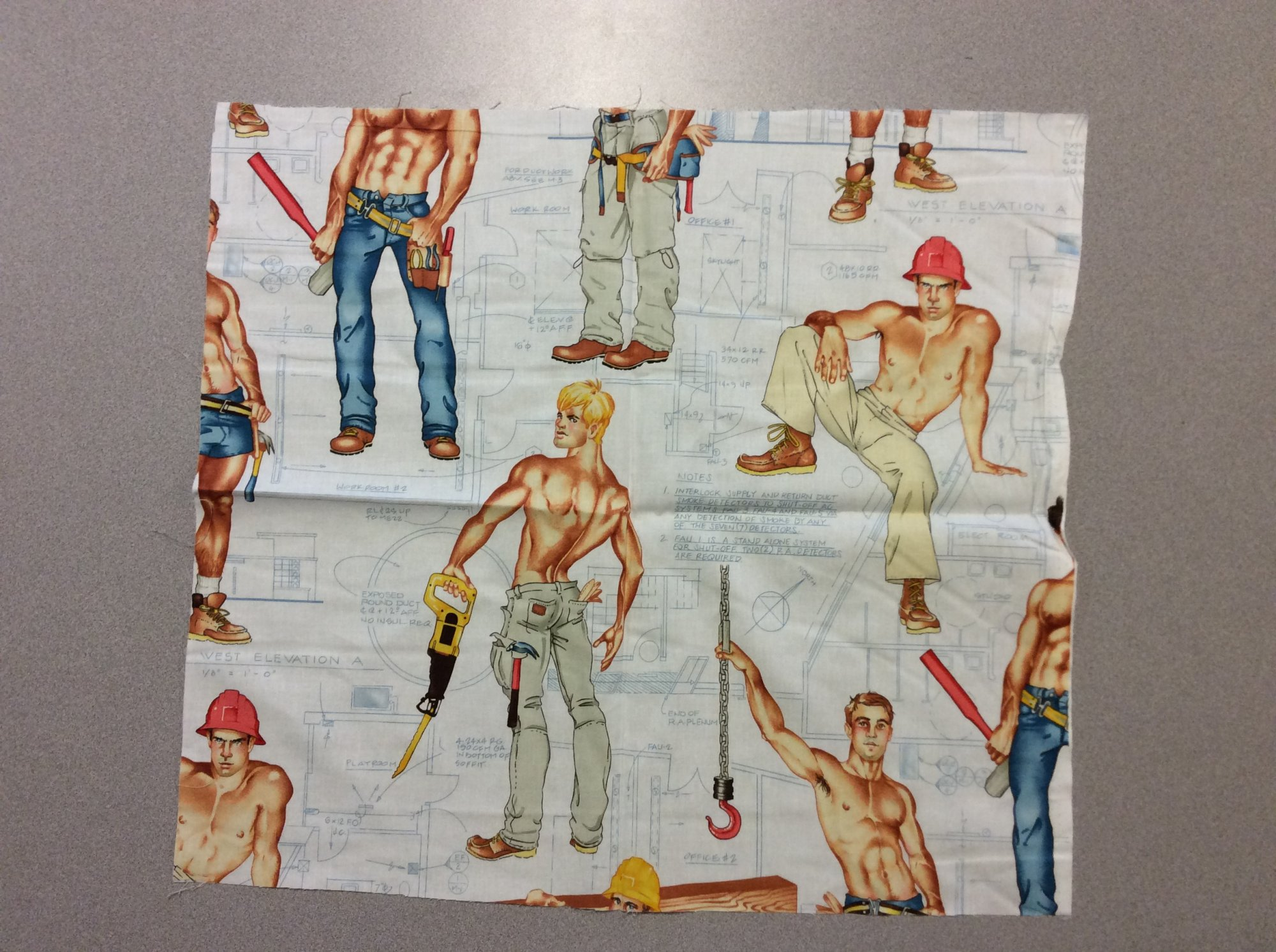 Fat Quarter! Rare! Out Of Print! Alexander Henry Heavy Equipment Sexy Pin Up Guys Construction Workers Cotton Fabric Quilt Fabric FQAH100E
