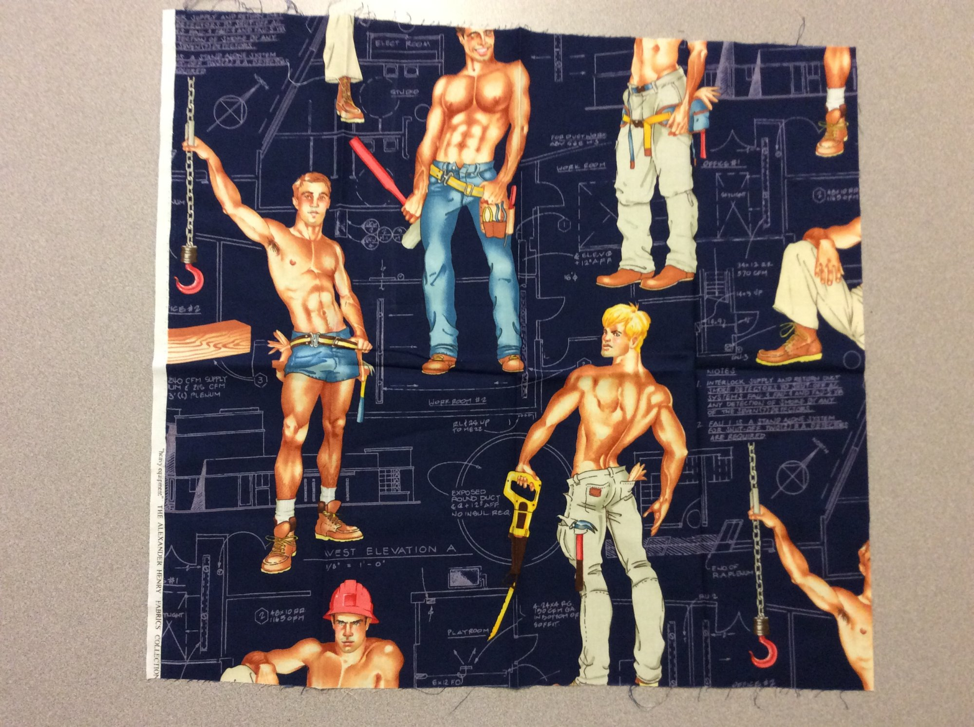 Fat Quarter! Rare! Out of Print! Sexy Pin Up Guy Construction Worker Blueprint Alexander Henry Cotton Fabric Quilt Fabric FQAH123A