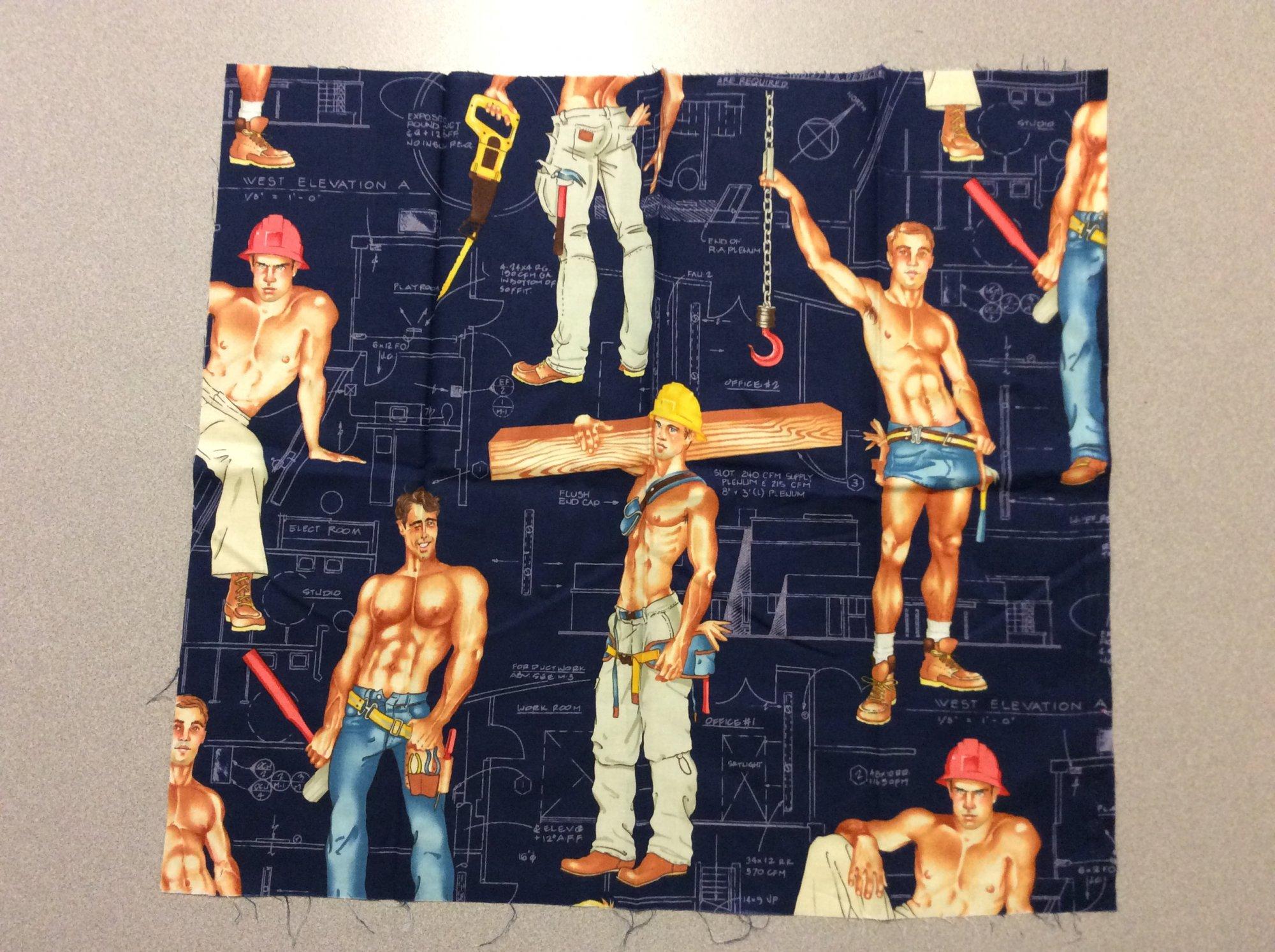 Fat Quarter! Rare! Out of Print! Sexy Pin Up Guy Construction Worker Blueprint Alexander Henry Cotton Fabric Quilt Fabric FQAH123B