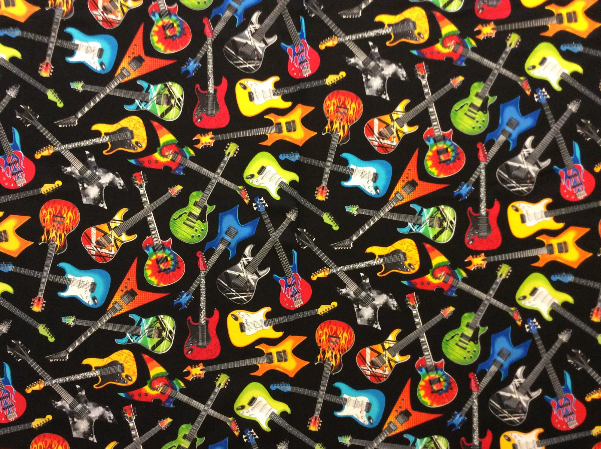 Electric Guitar Music Instrument Rock Band Rocker Cotton Quilt Fabric NT70