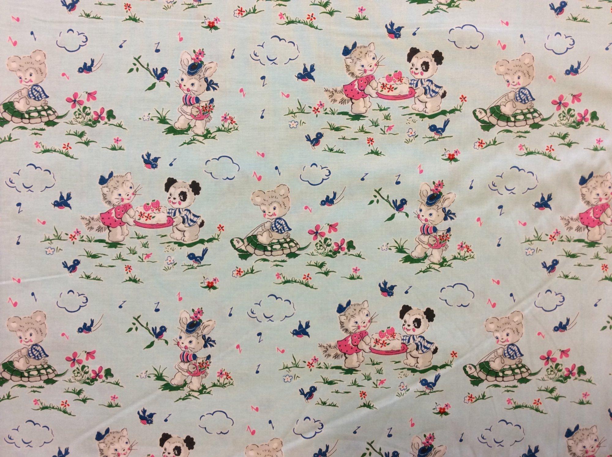 Retro Animal Cute Bunny Puppy Turtle Kitschy Bird Music Cotton Quilt Fabric PE02