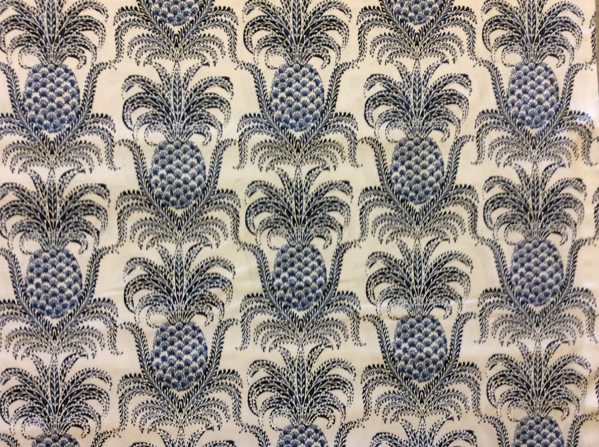 Pineapple New World Welcome French Country Toile Blue Willow Scroll Damask Fruit Print Cotton Quilt Fabric MM137