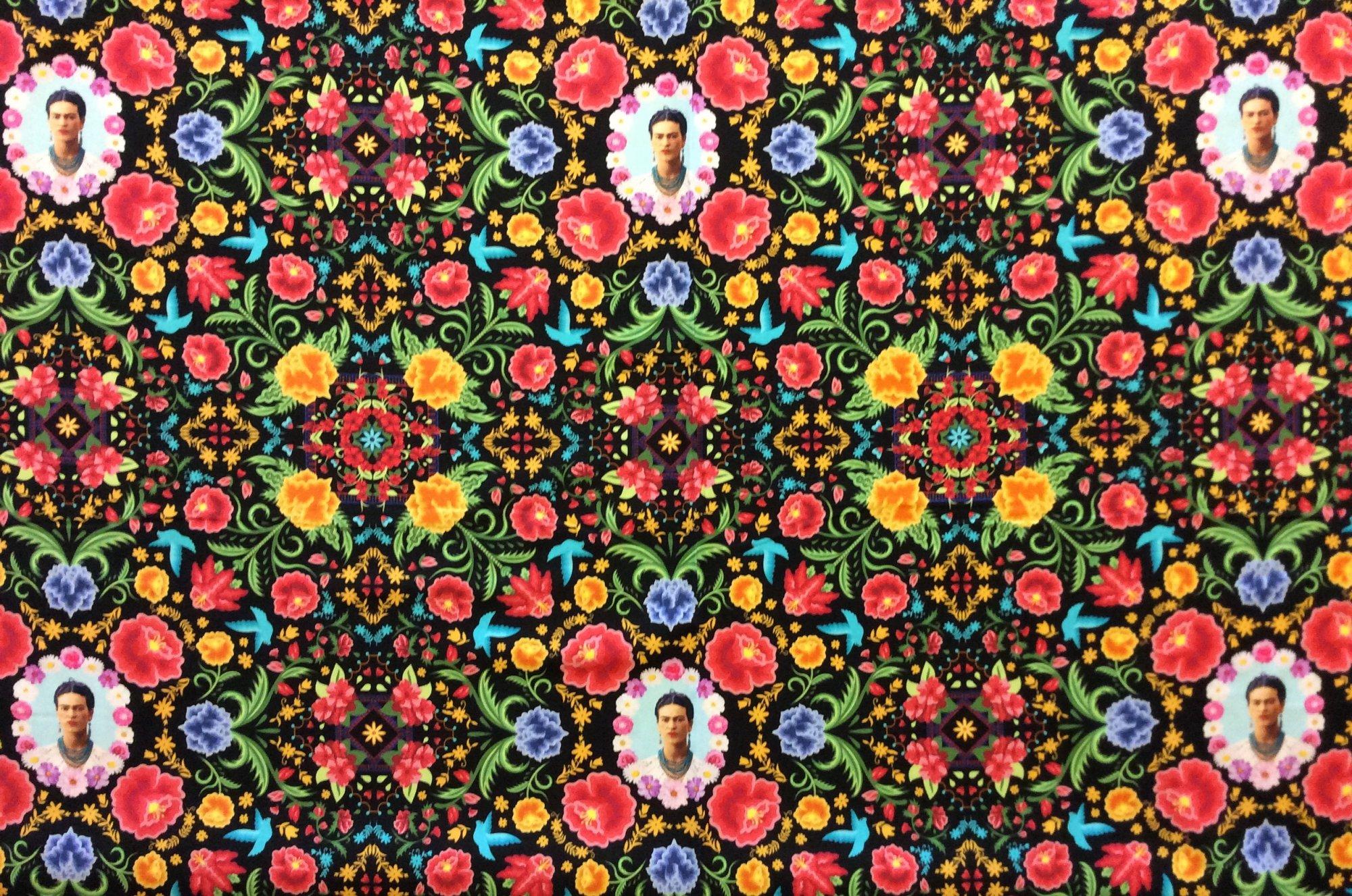Frida Kahlo Black Floral Portrait Mexico Latin Art Cotton Quilt Fabric RK228