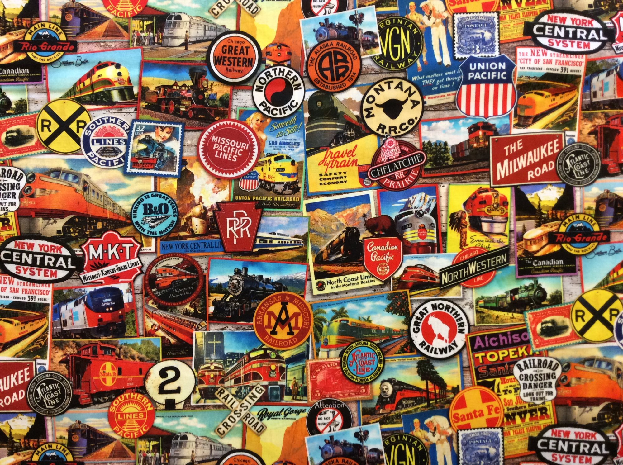 Transportation Train Locomotive Adventure Vintage Railroad Stamps Sign Railway  Cotton Quilt Fabric RK225