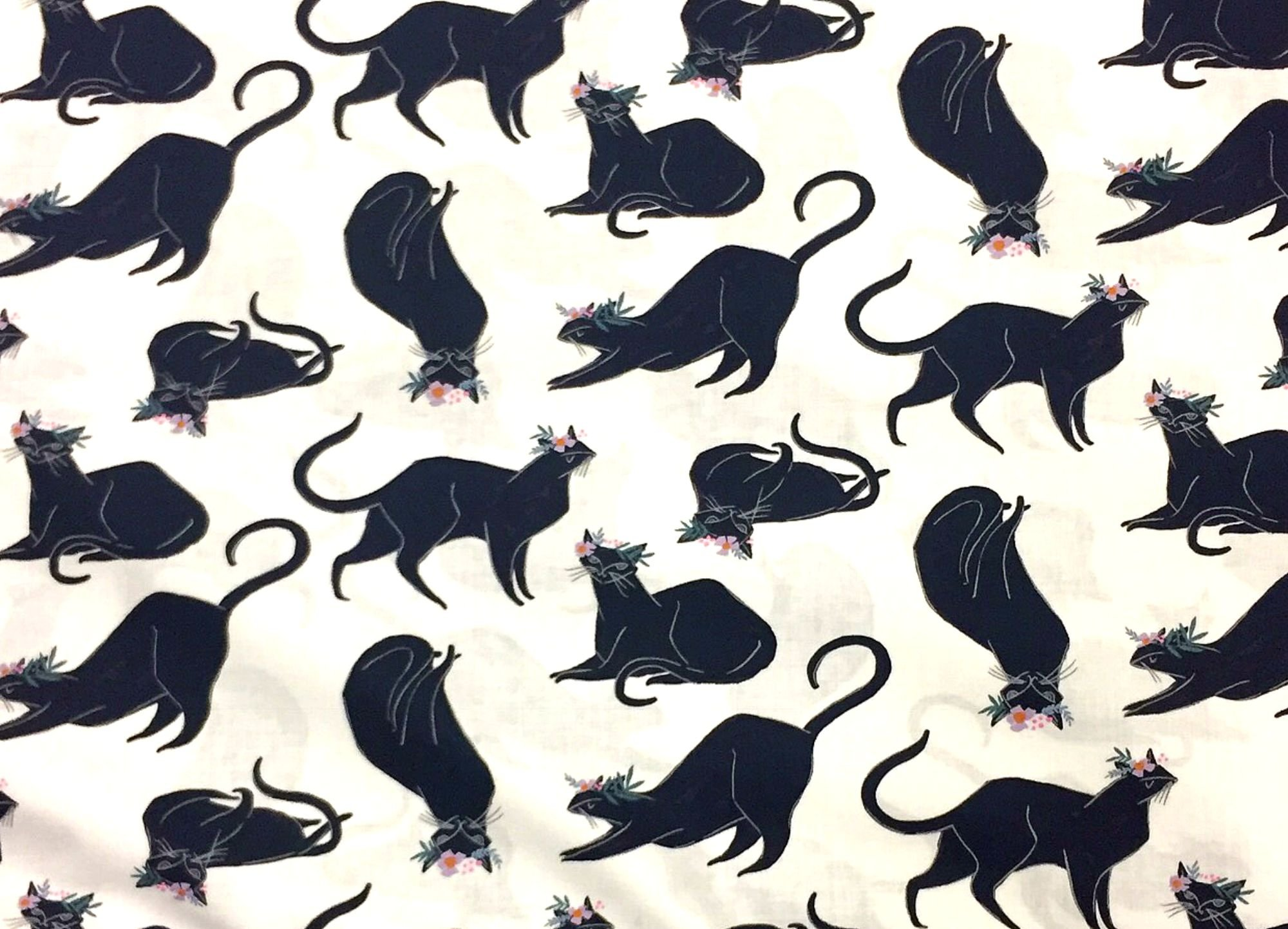 Kitty Black Cat Retro Kitten Illustration Cotton Quilt Fabric FT119