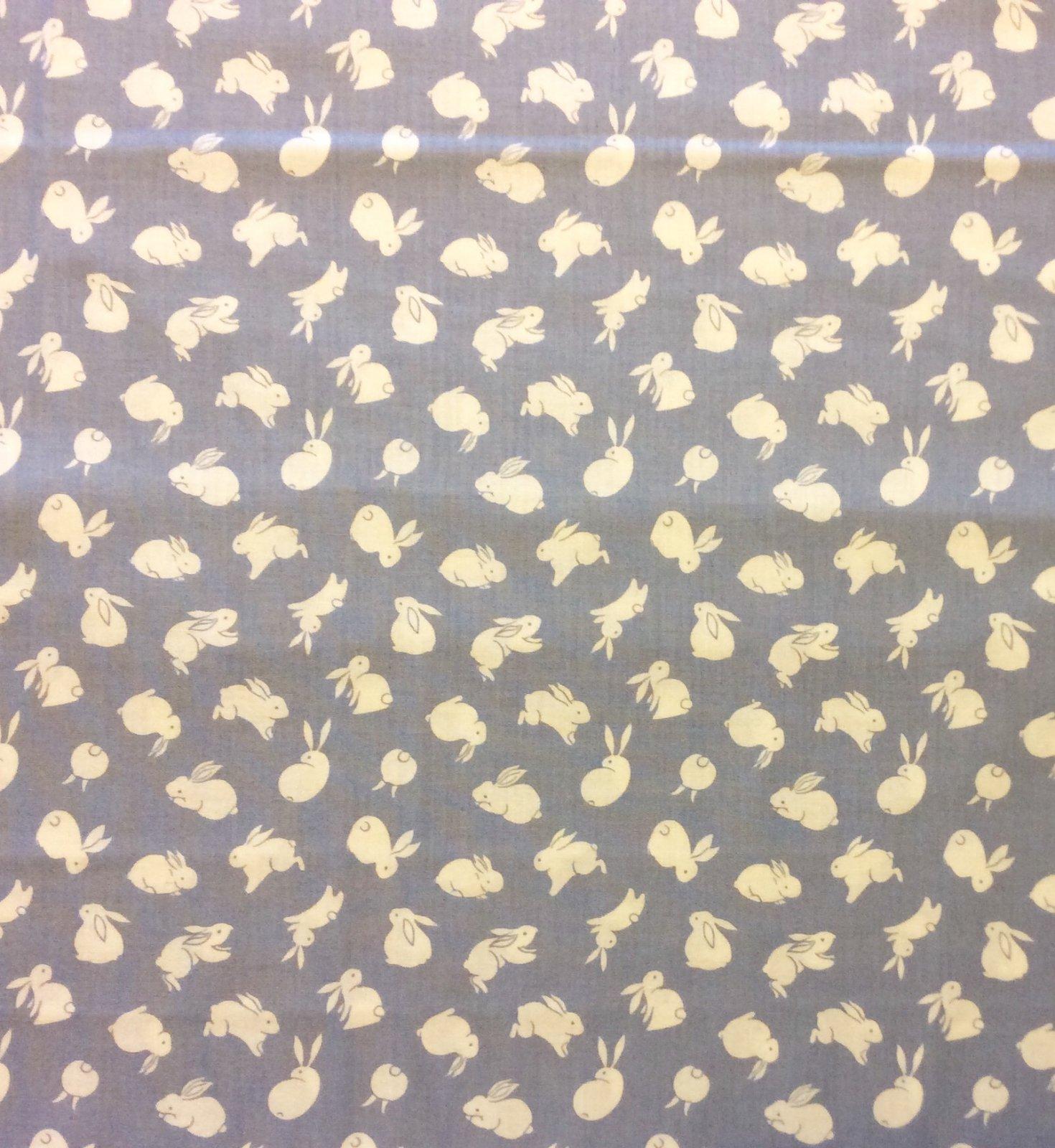 Cute Bunny Japanese Moon Rabbit Light Blue Cotton Quilt Fabric FT193