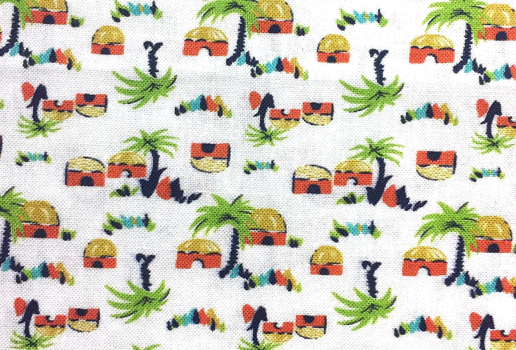 Small Wonders of the World SOUTH PACIFIC Retro Island Palm Trees Huts Cotton Quilt Fabric MD382