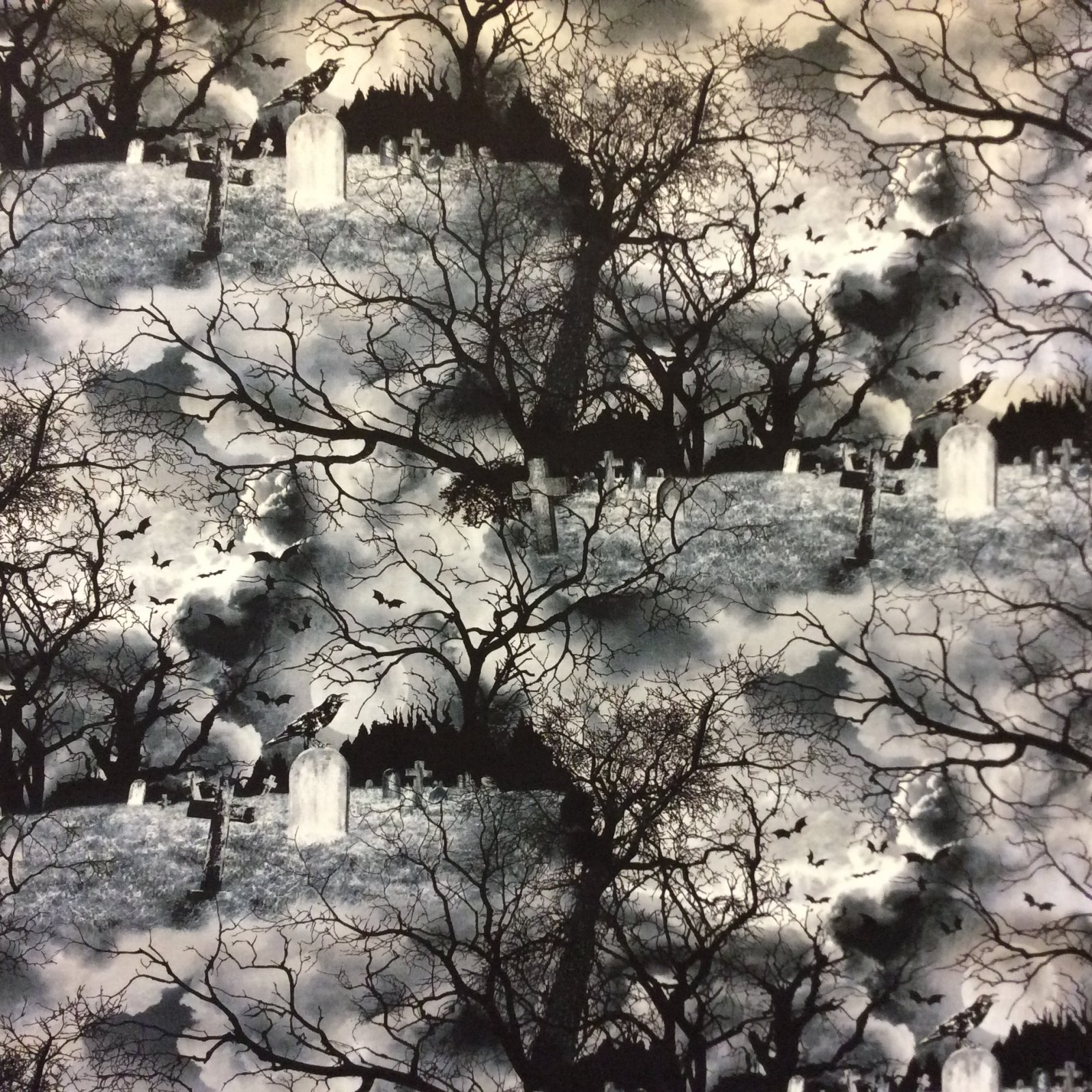 Halloween Spooky Goth Raven Crow Cemetery Graveyard Tree Full Moon Cotton Quilt Fabric FT194