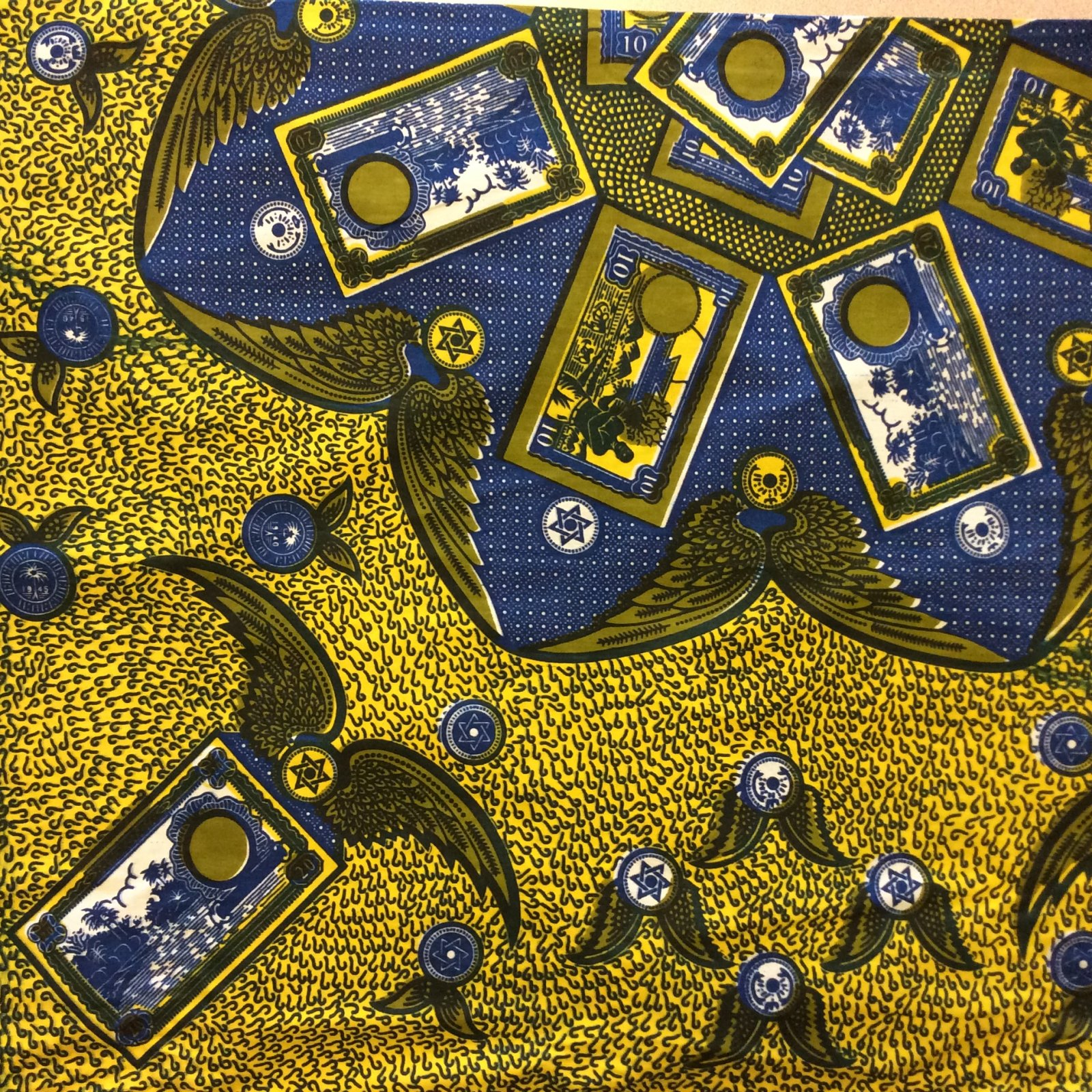 African Wax Print Cloth Blue and Yellow Cotton Fabric WP014