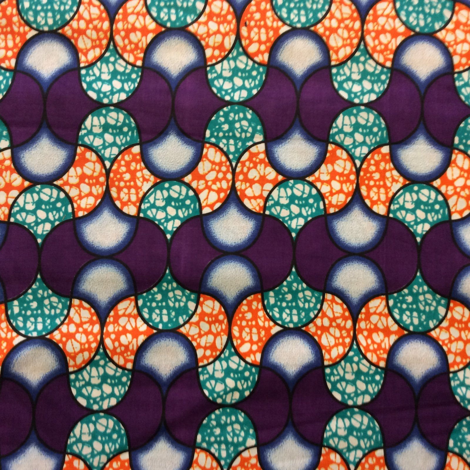 African Wax Print Cloth Teal Purple and Orange Graphic Cotton Fabric WP013