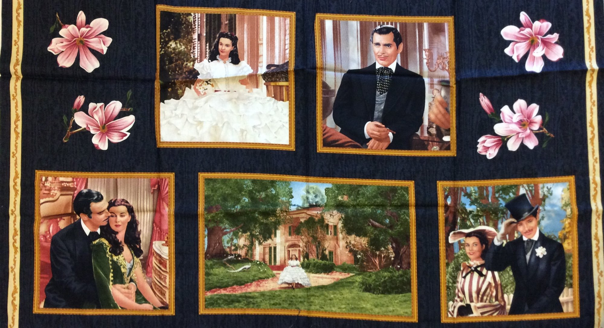 Rare, Out of Print! Gone With the Wind Character Margaret Mitchell Scarlett O'Hara Rhett Butler Vivian Leigh Clark Gable Tara Panel Cotton Quilting Fabric CR181