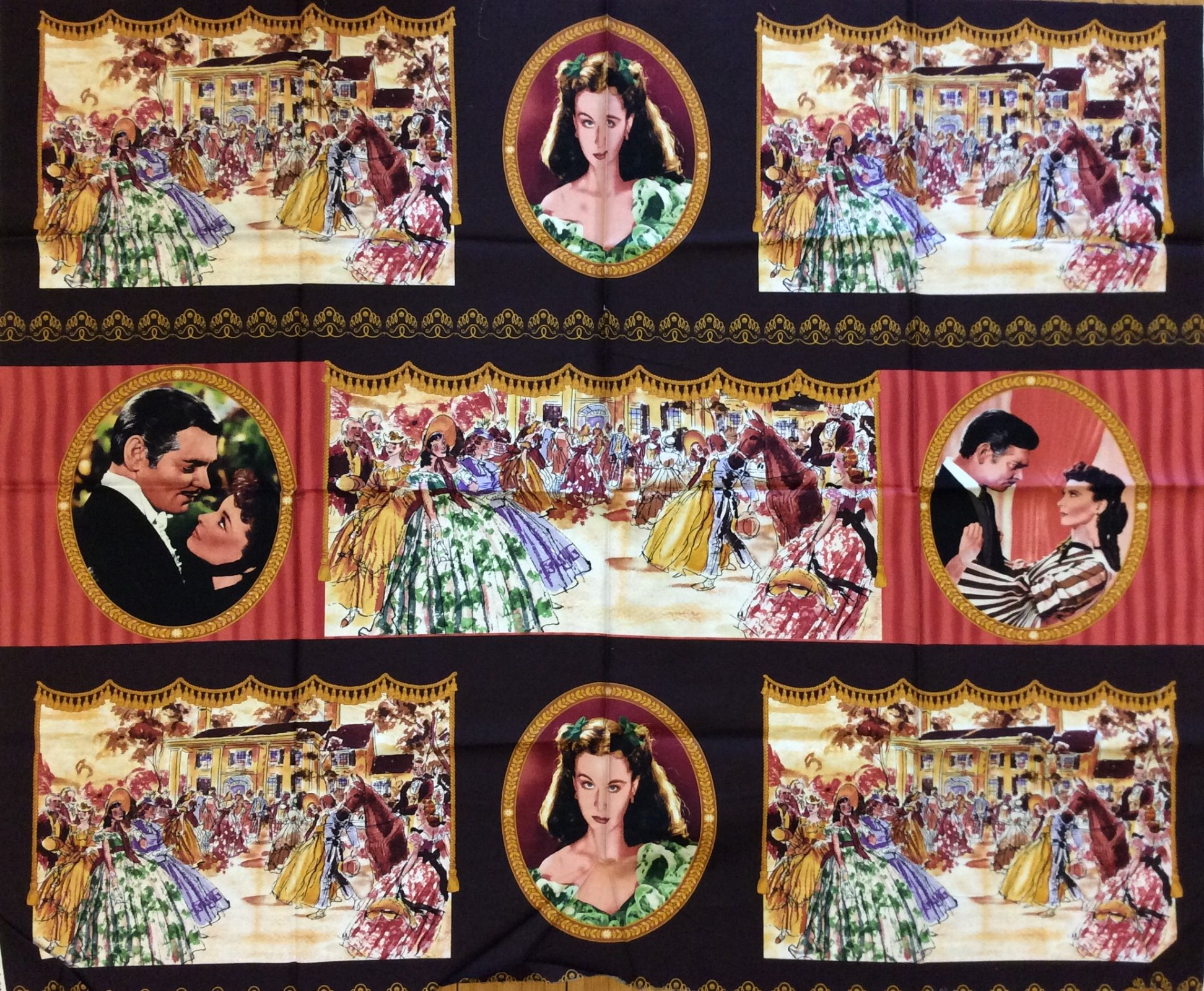 Rare, Out of Print! Last Piece! Gone With the Wind Clark Gable Vivien Leigh Retro Movie Star Cotton fabric Quilt fabric Panel R80