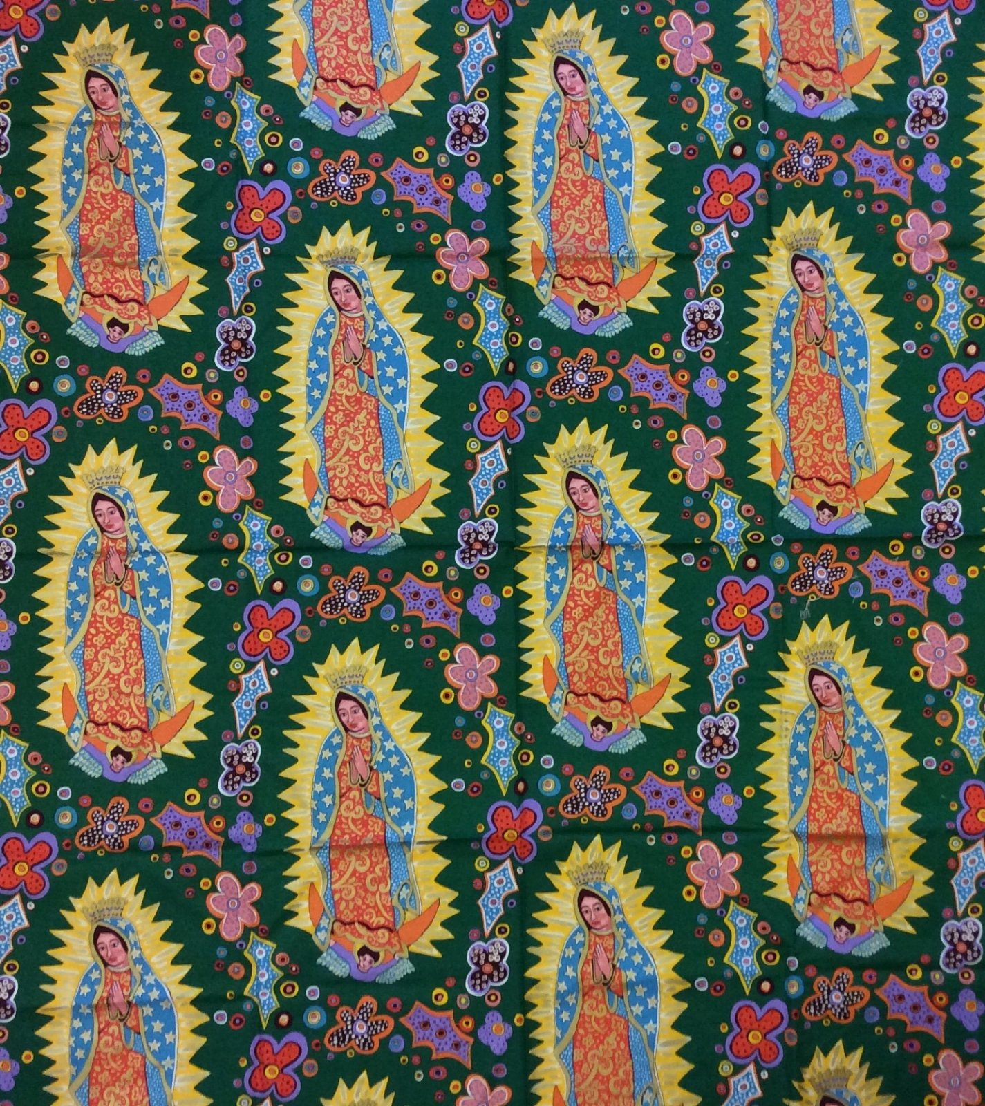 Rare! Out of Print! Dark Green Our Lady of Guadalupe Mexico Terrie Mangat Mexican Religious Flowers Cotton Fabric Quilt Fabric FF70