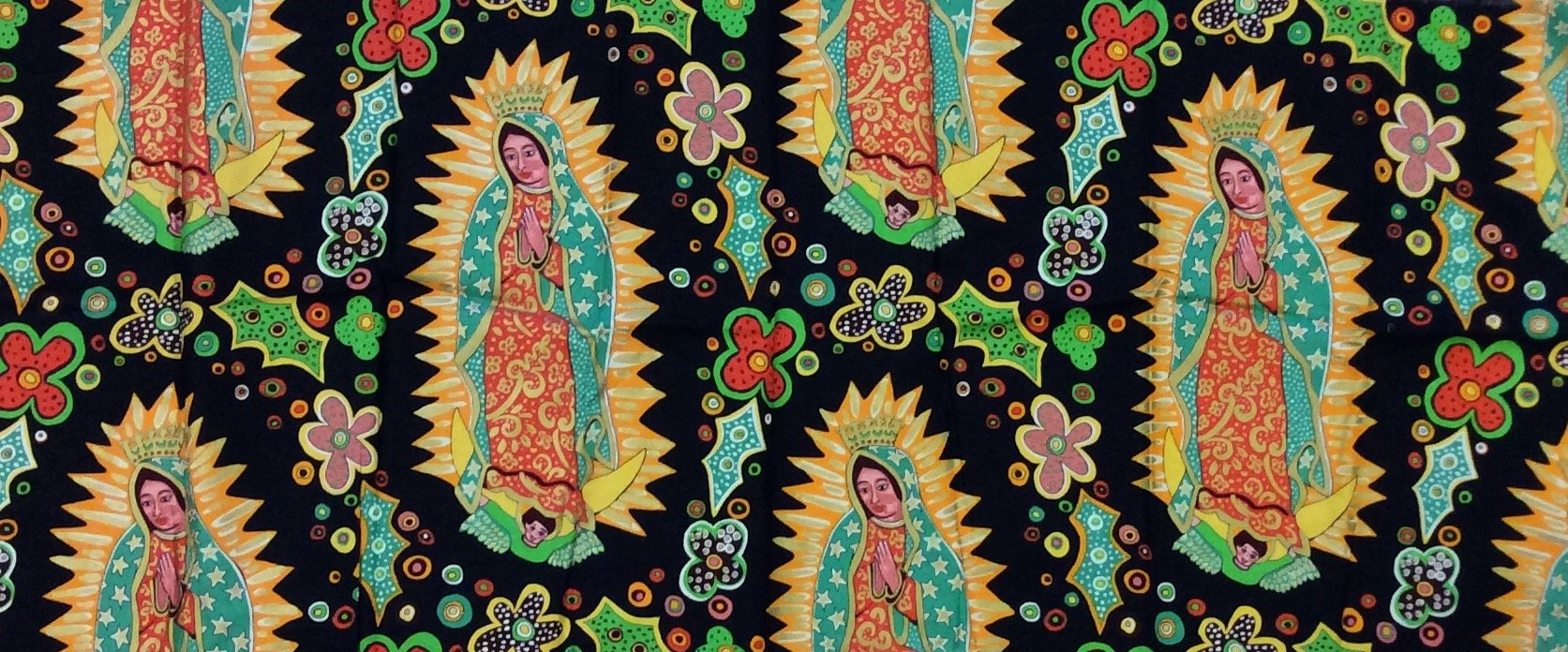 Rare, Out of Print! Black Our Lady of Guadalupe Mexico Terrie Mangat Mexican Religious Flowers Cotton Fabric Quilt Fabric R04 PC3