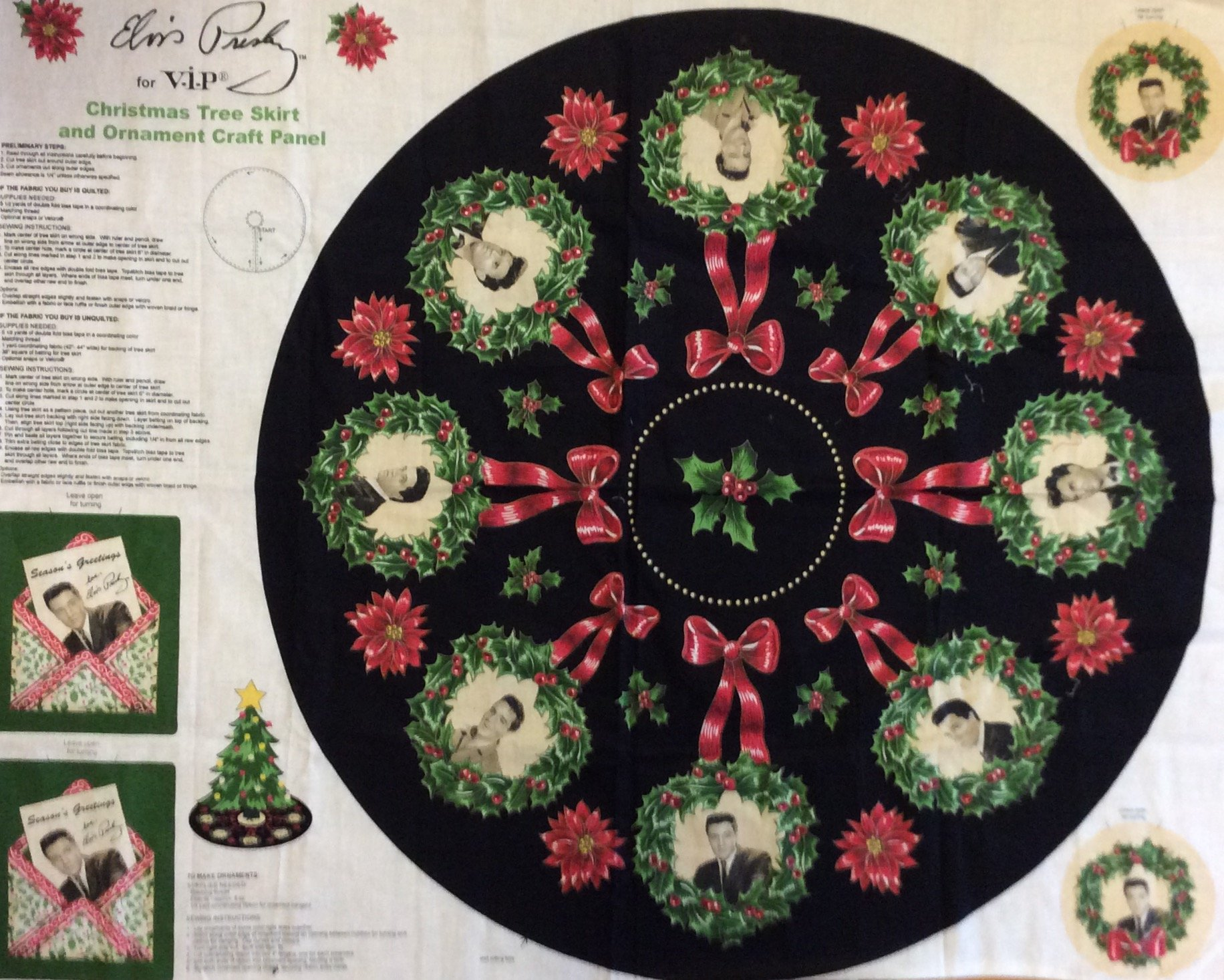 Elvis Retro Tree Skirt Christmas Holiday Blue Christmas Wreath Holly Cotton Quilt Fabric Out of Print! PNL89