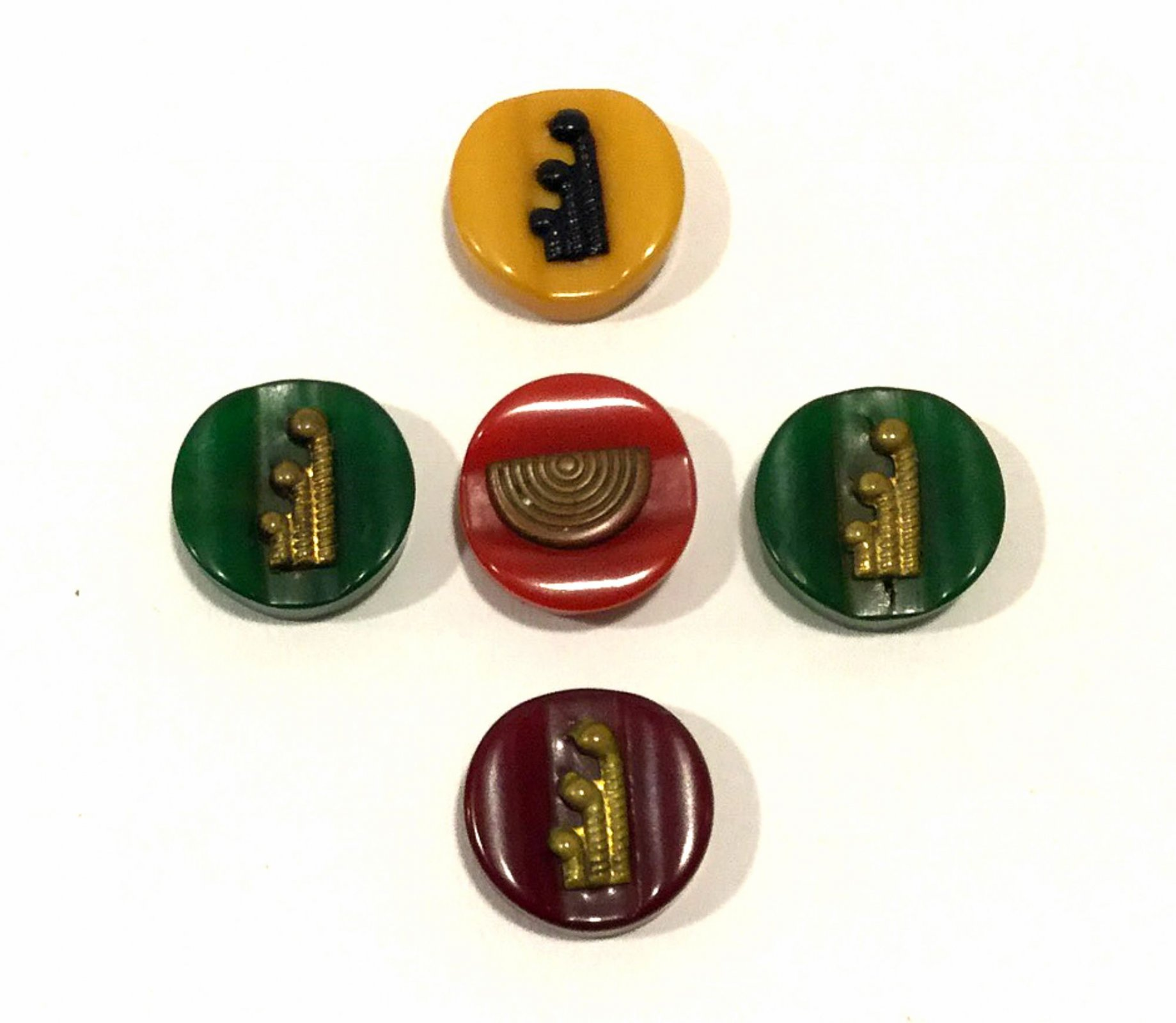 Lot of FIVE Old Vintage BAKELITE Unusual Carved Art Deco Sewing Buttons VBL302