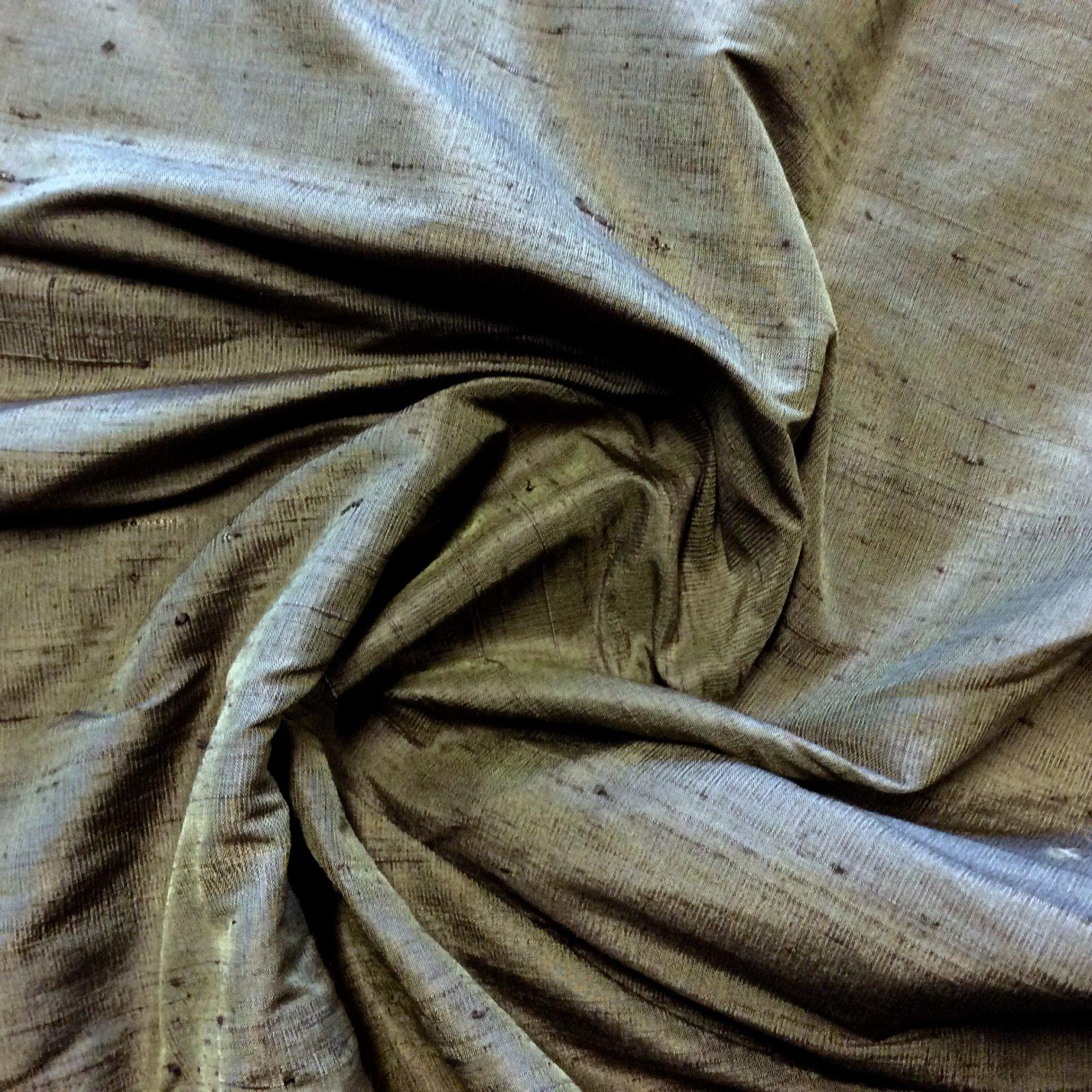 SILK Dark Brown Green Hue Exquisite Hand Woven Dupioni 100% Silk Fabric Drapery By the Yard SH27