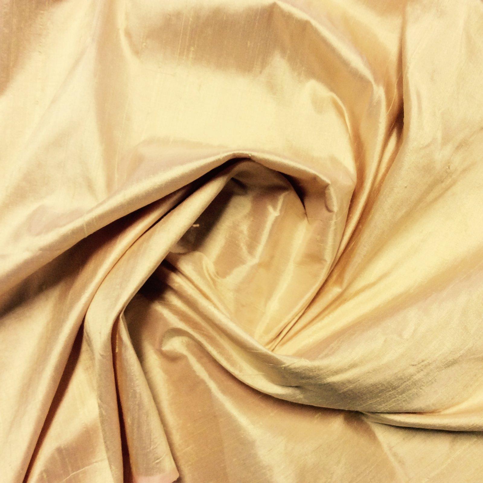 SILK Yellow Cream Peach Exquisite Hand Woven Dupioni 100% Silk Fabric Drapery By the Yard SH23