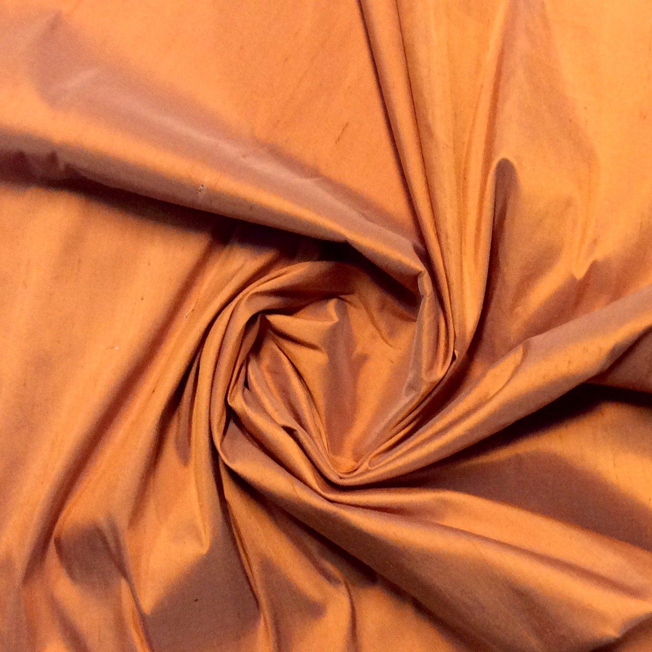 Dupioni Silk 100% Silk Apricot Copper Color Drapery Silk Costume Apparel Sewing Fabric SMW002