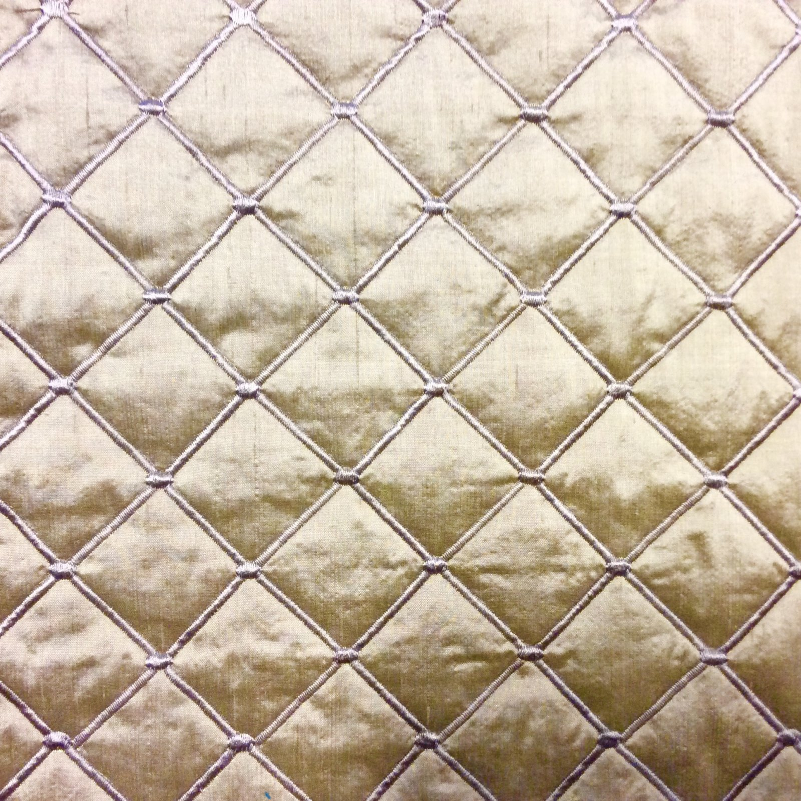Silk Dupioni Taupe Quilted and Embroidered High End Luxury Home Decor Upholstery Bedding Fabric NL018