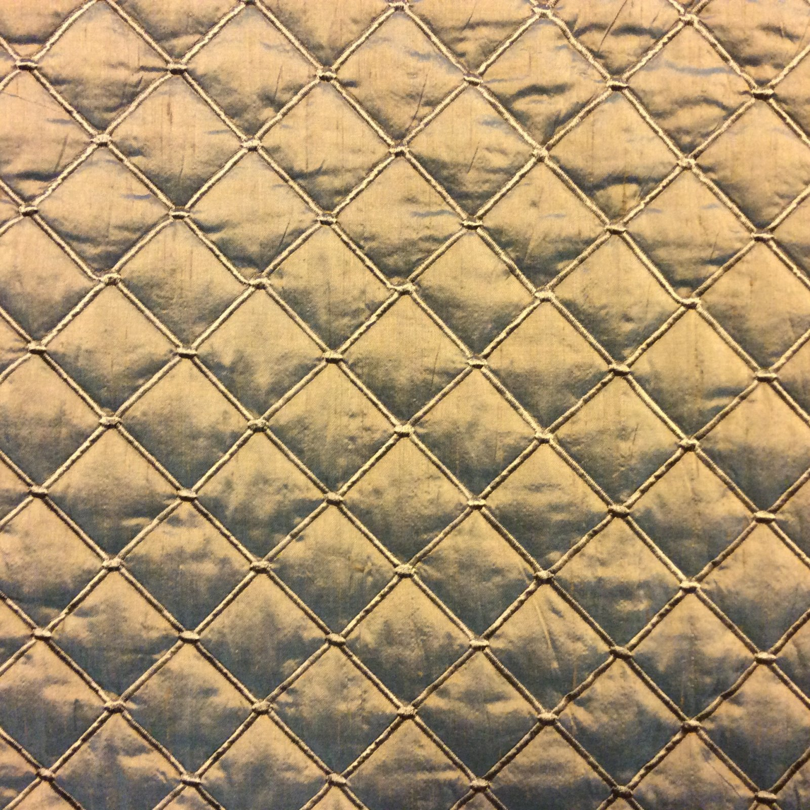 Silk Dupioni Golden Taupe with an Aqua Crossthread Quilted and Embroidered High End Luxury Home Decor Upholstery Bedding Fabric HD58