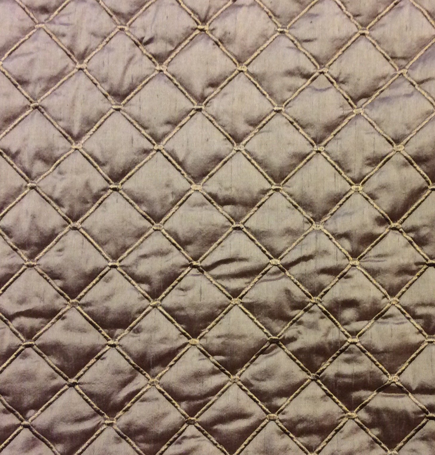 Silk Dupioni Light Olive Taupe Quilted and Embroidered High End Luxury Home Decor Upholstery Bedding Fabric HD57