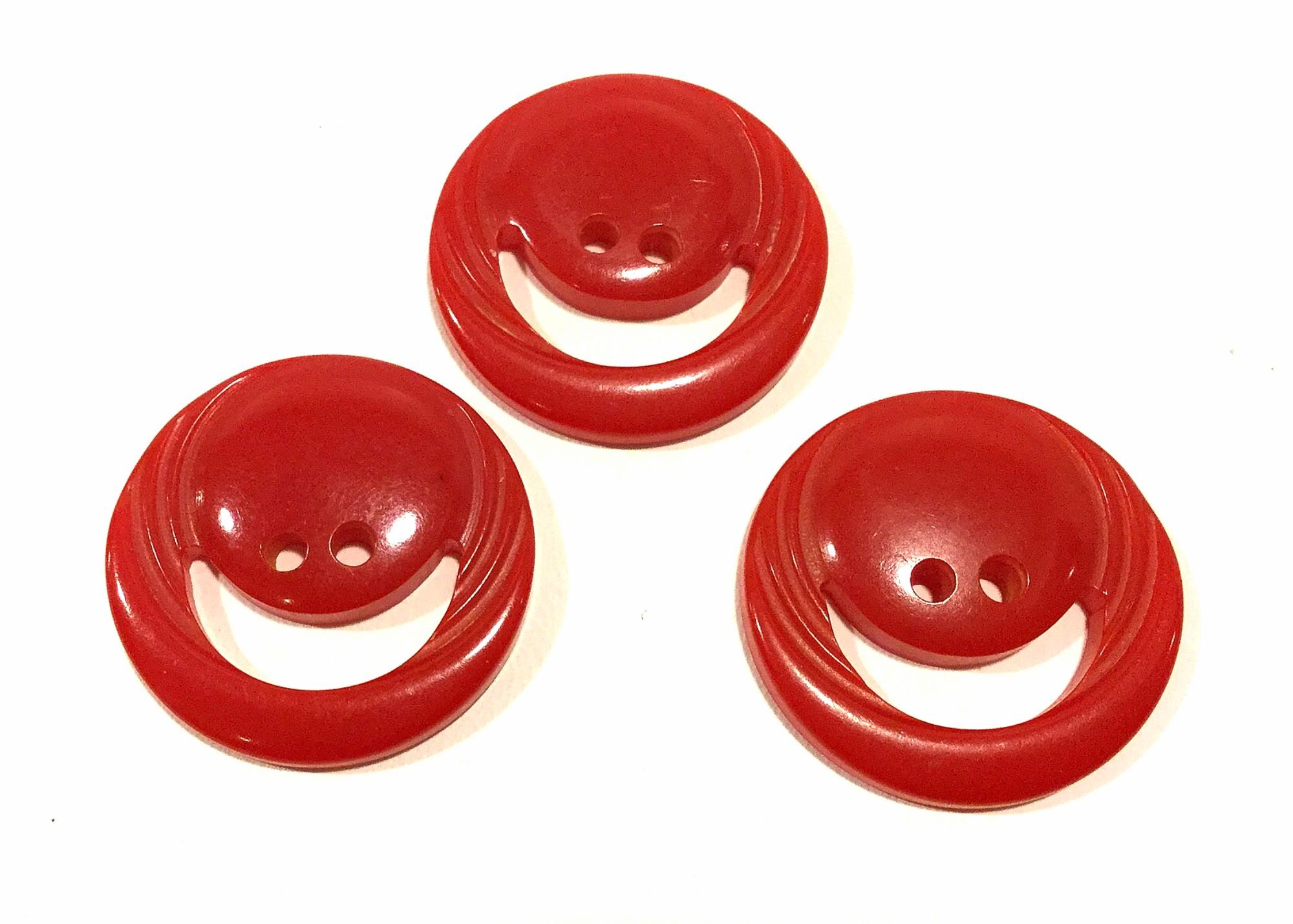 Lot of THREE Old Vintage BAKELITE Carved Red Smiley Face Sewing Buttons VBL305