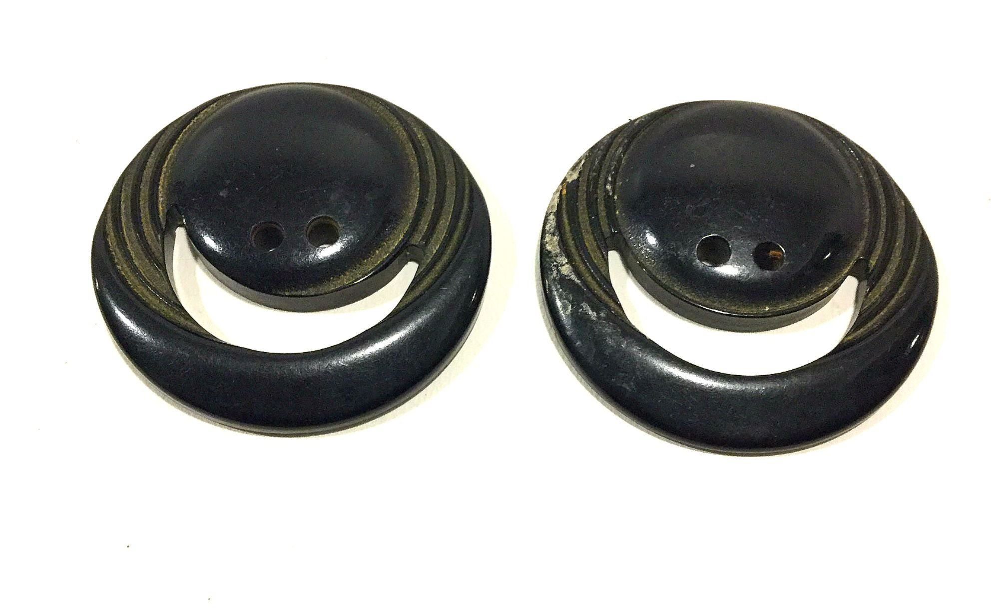 Lot of TWO Old Vintage BAKELITE Carved Smiley Face Sewing Buttons VBL304