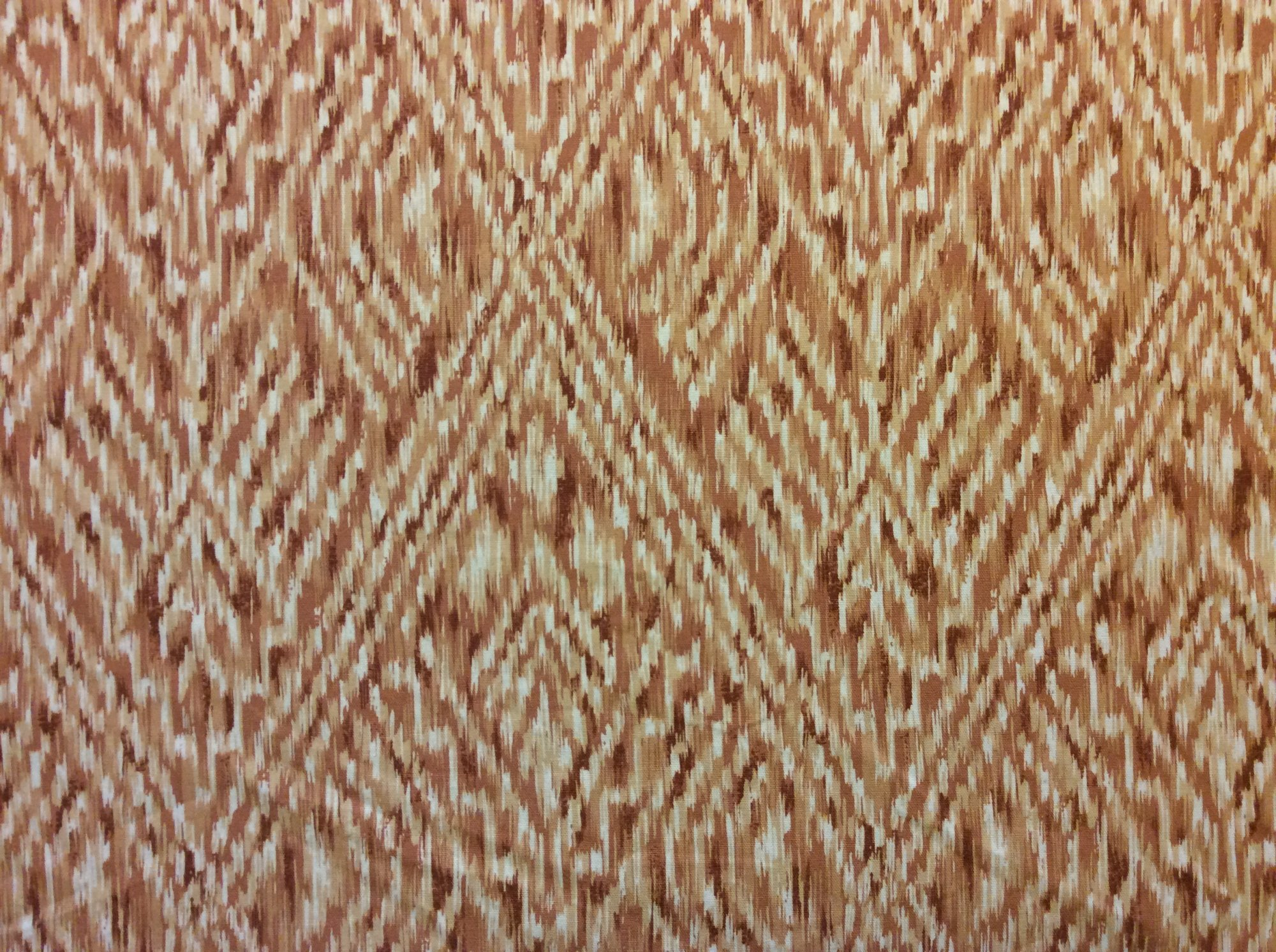 Ikat Tribal Orange Brown Cream Linen Texture Heavy Weight Cotton Fabric Drapery Fabric HD363