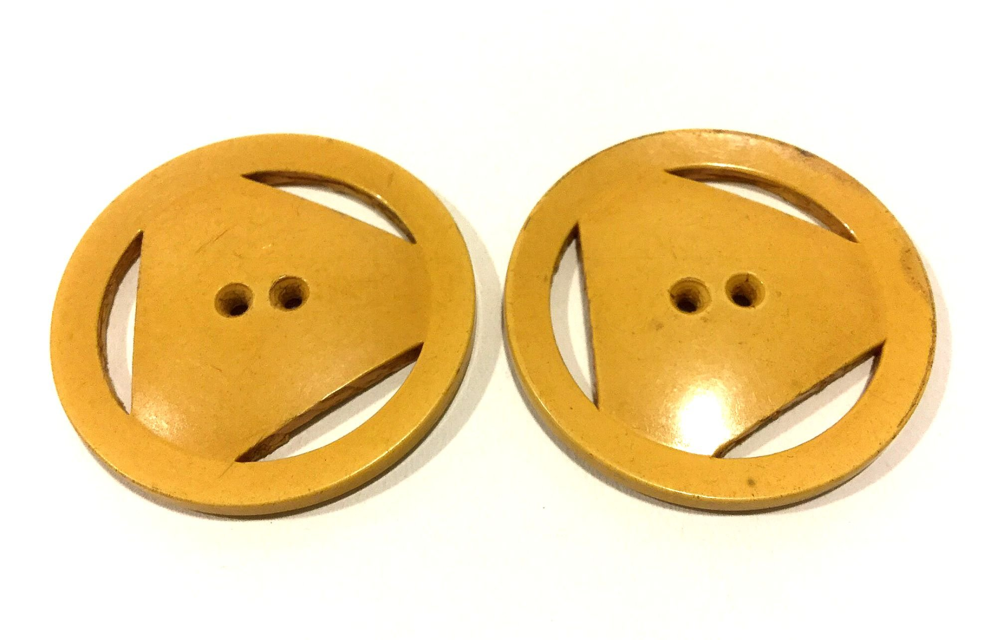 Lot of TWO Old Vintage BAKELITE Yellow Triangle Circle Sewing Buttons VBL303