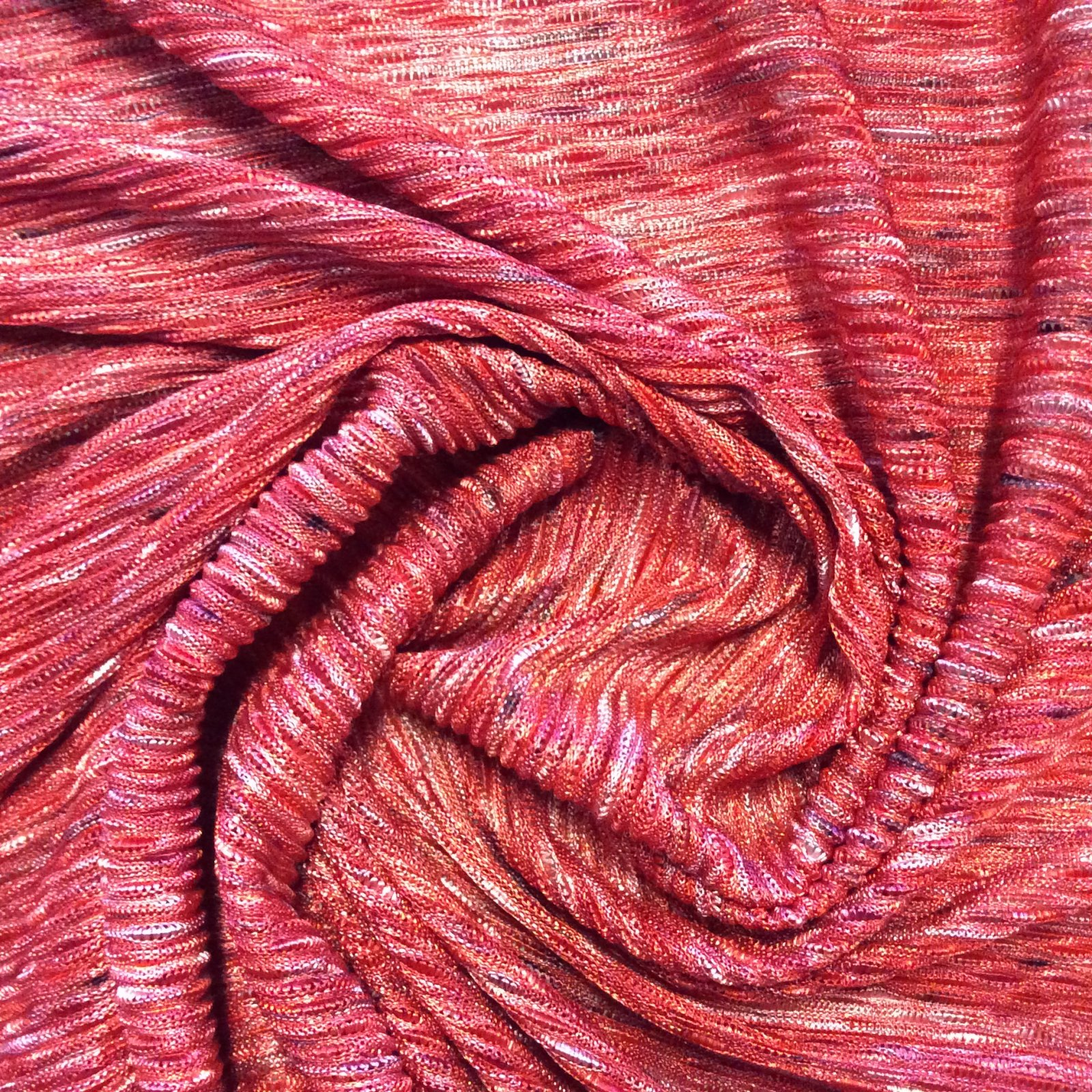 Knit Fabric Fun Missoni Look Made in Italy Red and Pink Wavy  Apparel Sewing Stretch Dressmakers Fabric JK1174