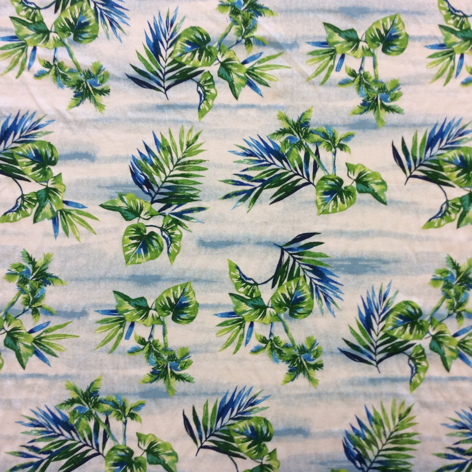 Knit Fabric Tropical Palm Beach Wave Cotton Blend Non-Directional Mid Weight Apparel Sewing Stretch Dressmakers Fabric MAY402